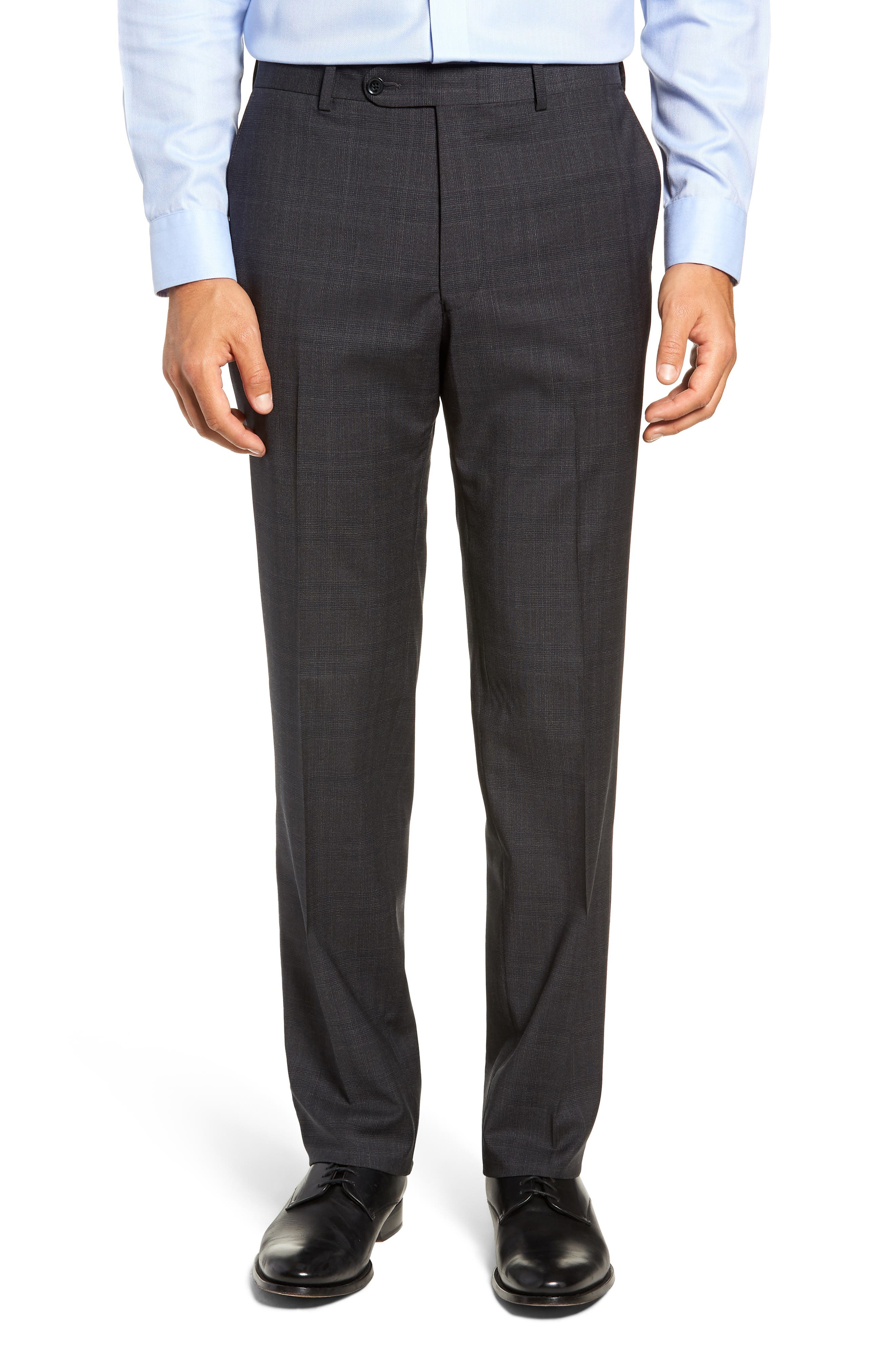 Flynn Classic Fit Plaid Wool Suit,                             Alternate thumbnail 6, color,                             CHARCOAL