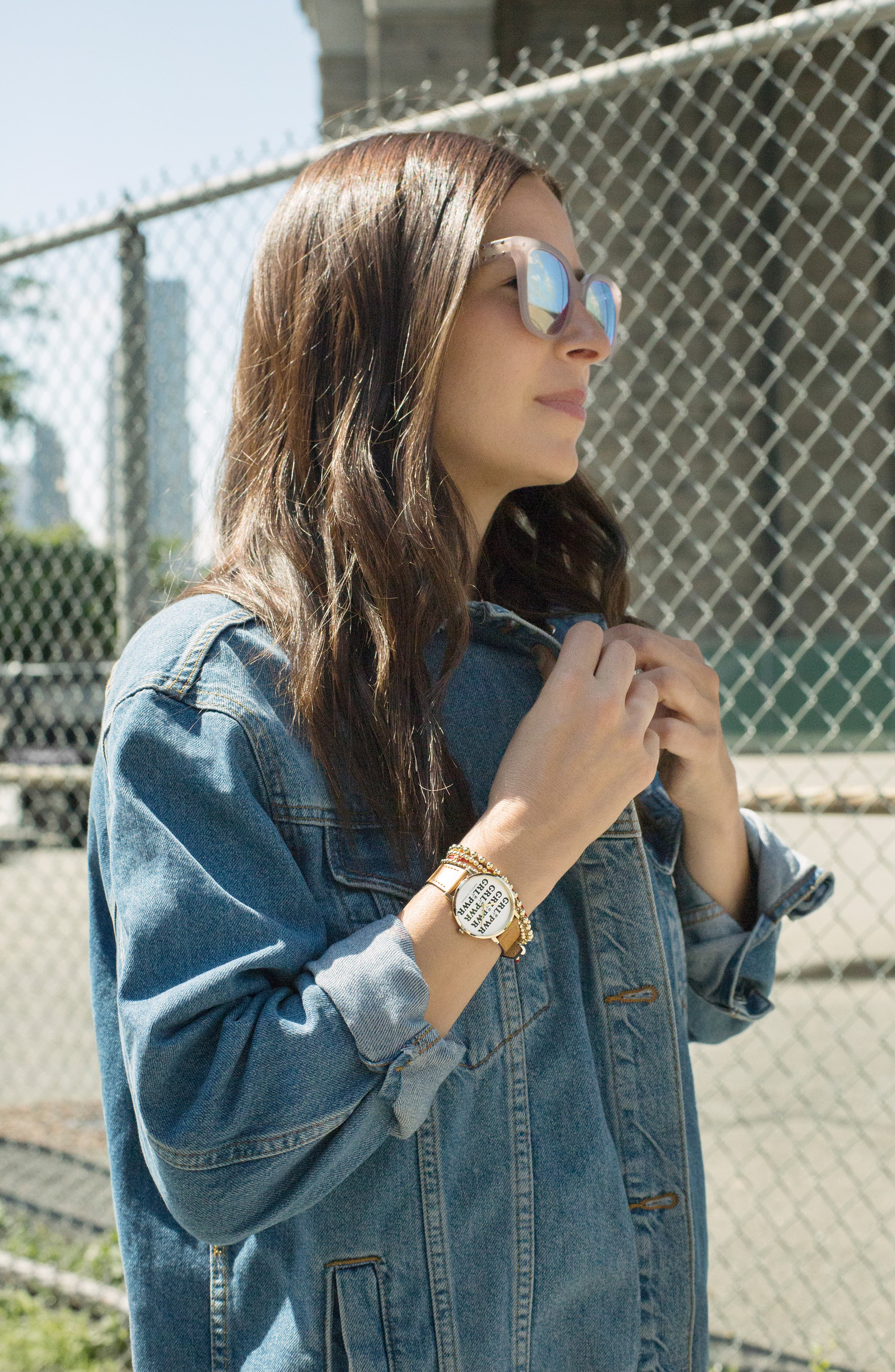 Rebeca Minkoff Major GRL PWR Leather Strap Watch, 35mm,                             Alternate thumbnail 5, color,                             ALMOND/ SILVER/ GOLD