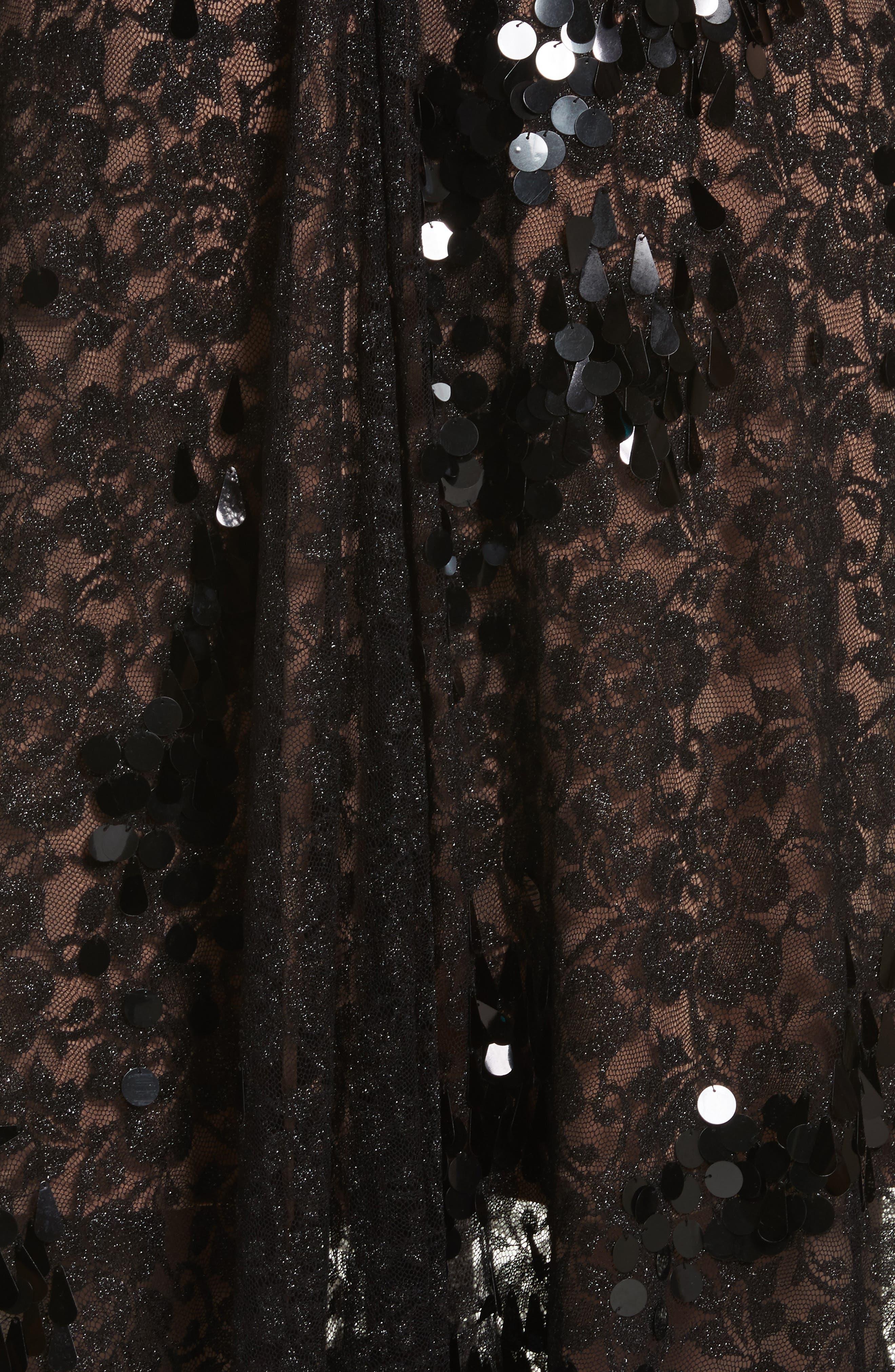Lace Fit & Flare Midi Dress,                             Alternate thumbnail 5, color,