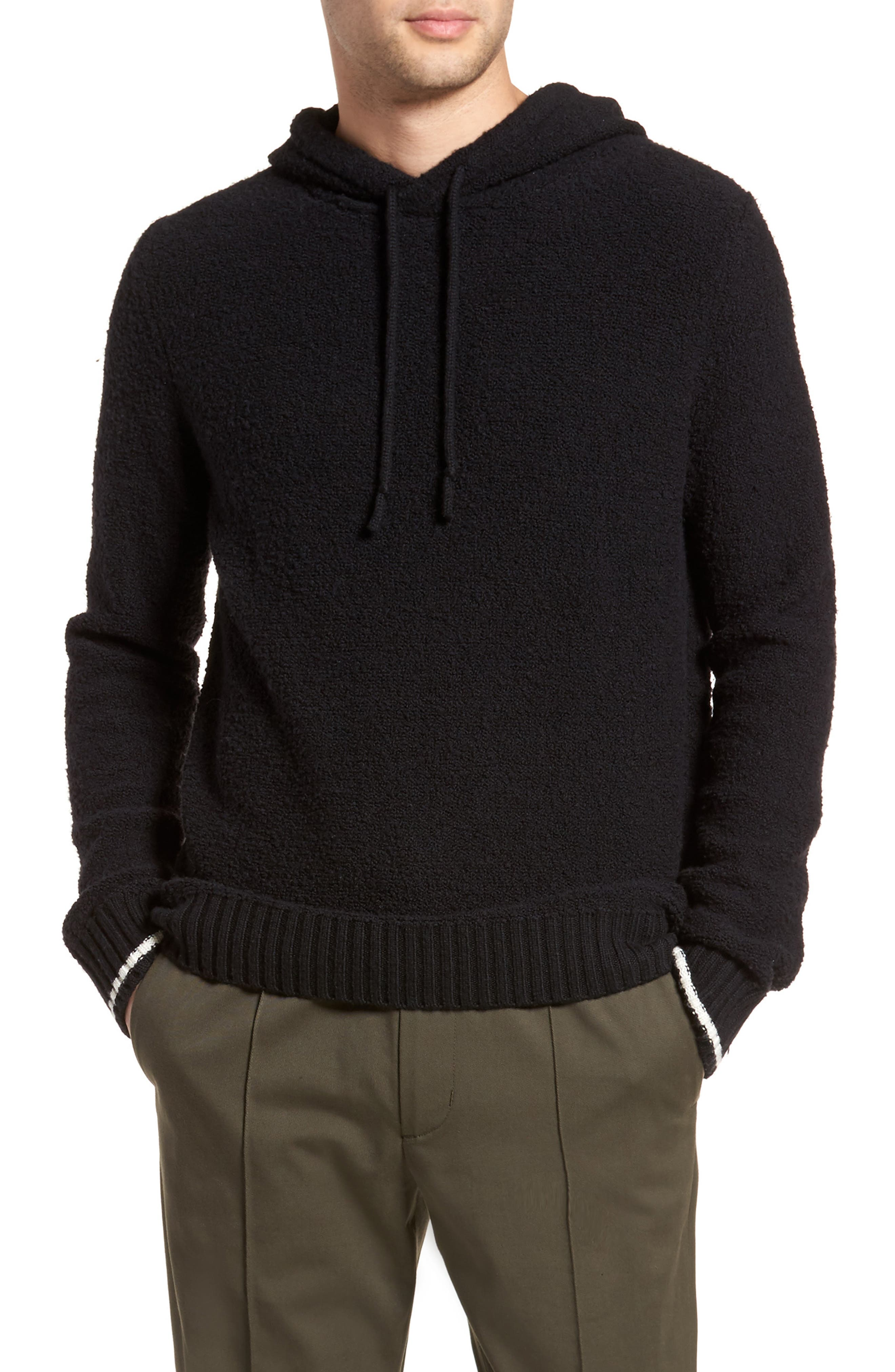 Wool Fleece Pullover Hoodie,                         Main,                         color, BLACK