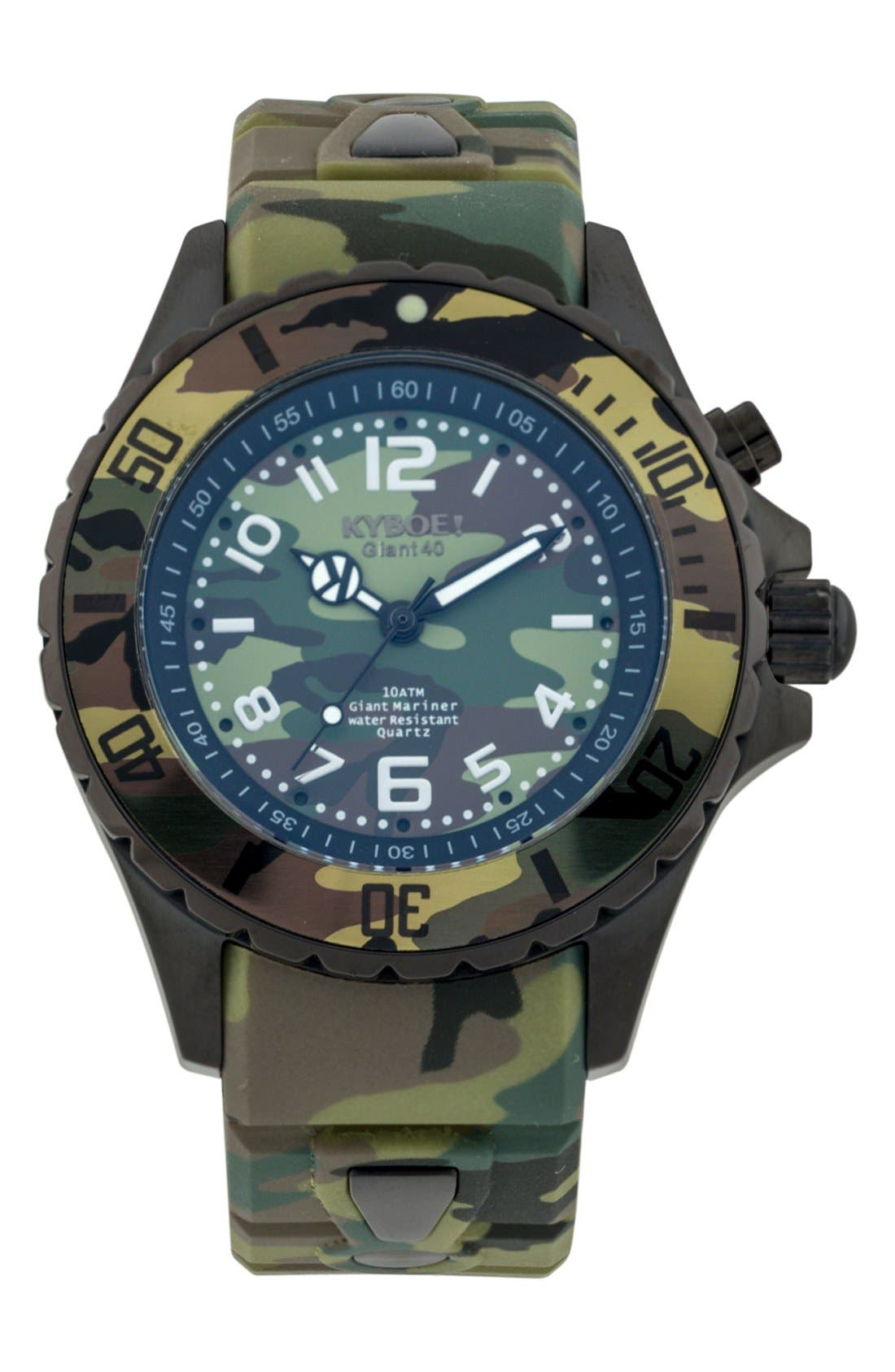 Camouflage Silicone Strap Watch, 40mm,                             Main thumbnail 1, color,                             301