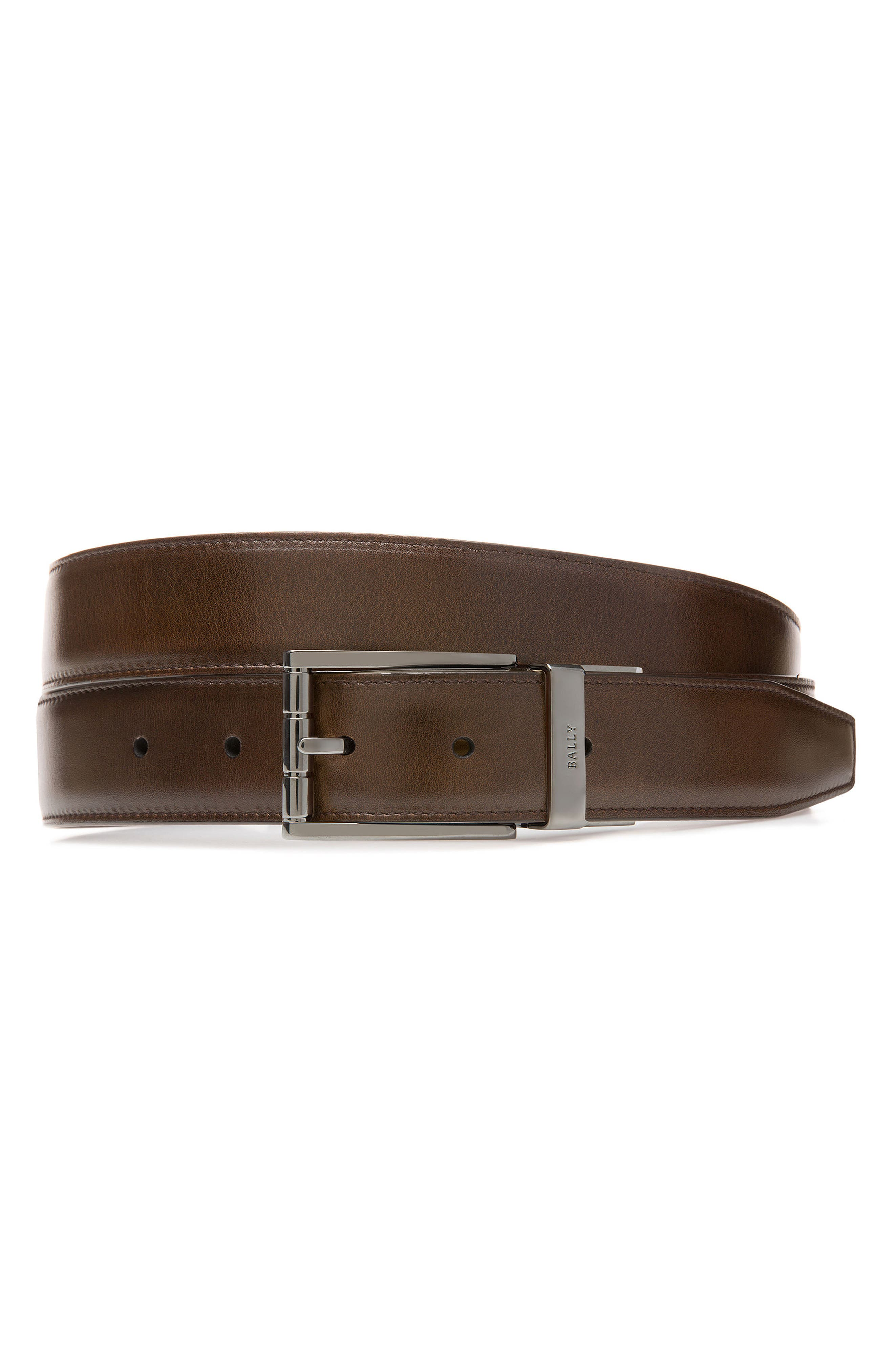 BALLY Astor Reversible Leather Belt, Main, color, MID BROWN