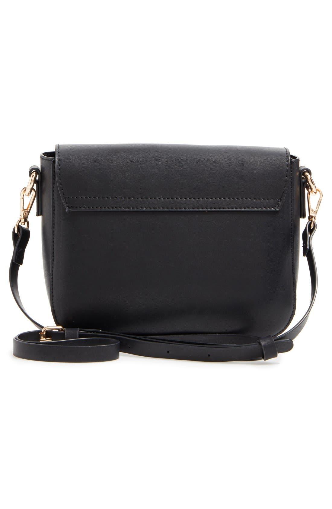Minimal Faux Leather Crossbody Bag,                             Alternate thumbnail 4, color,                             001