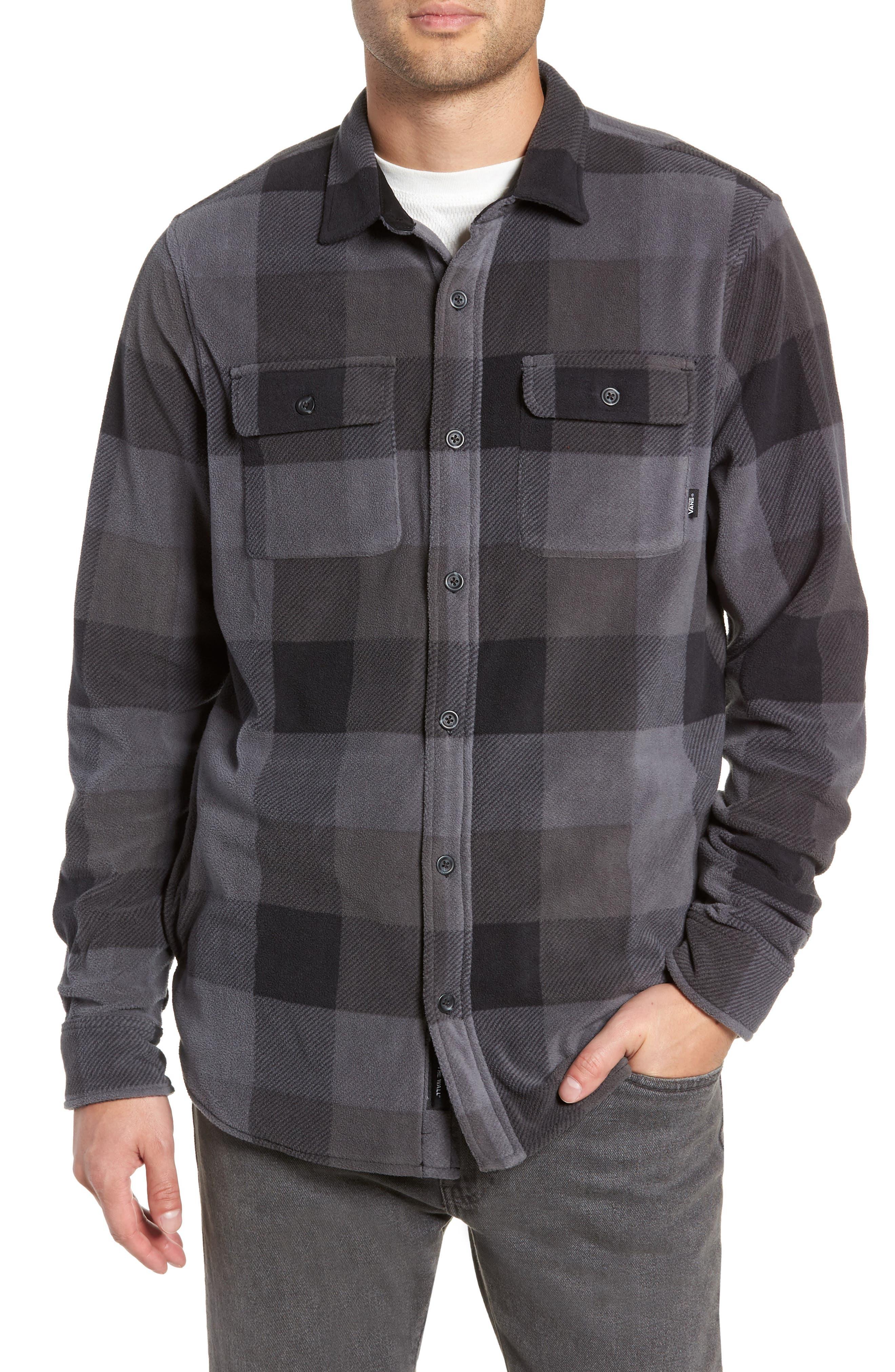 Hillcrest Polar Fleece Shirt Jacket,                         Main,                         color, BLACK/ CHARCOAL