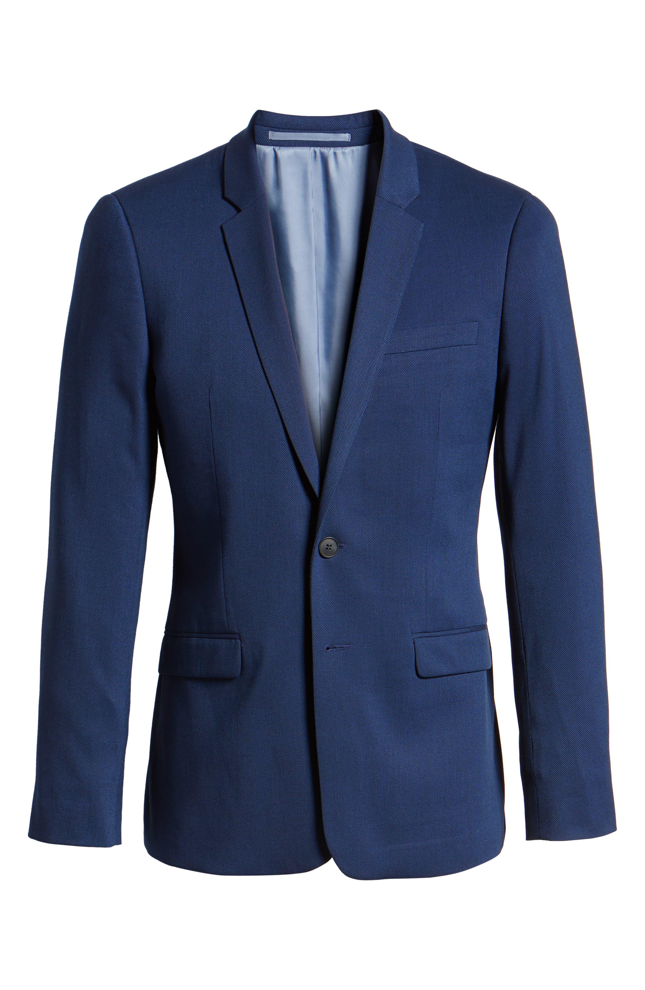 Skinny Fit Suit Jacket,                             Alternate thumbnail 5, color,                             BLUE