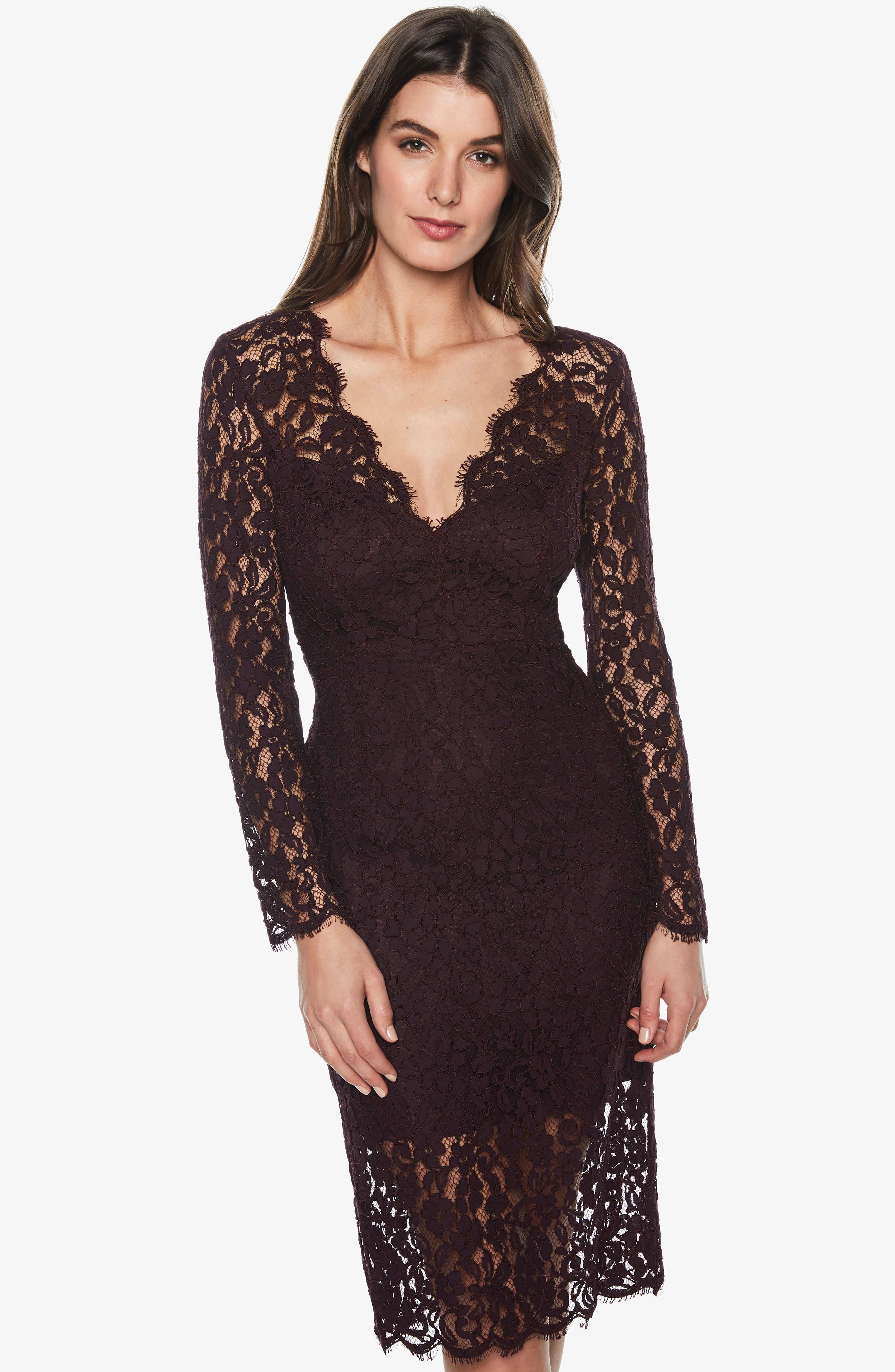 BARDOT,                             Midnights Lace Dress,                             Alternate thumbnail 7, color,                             BLACK