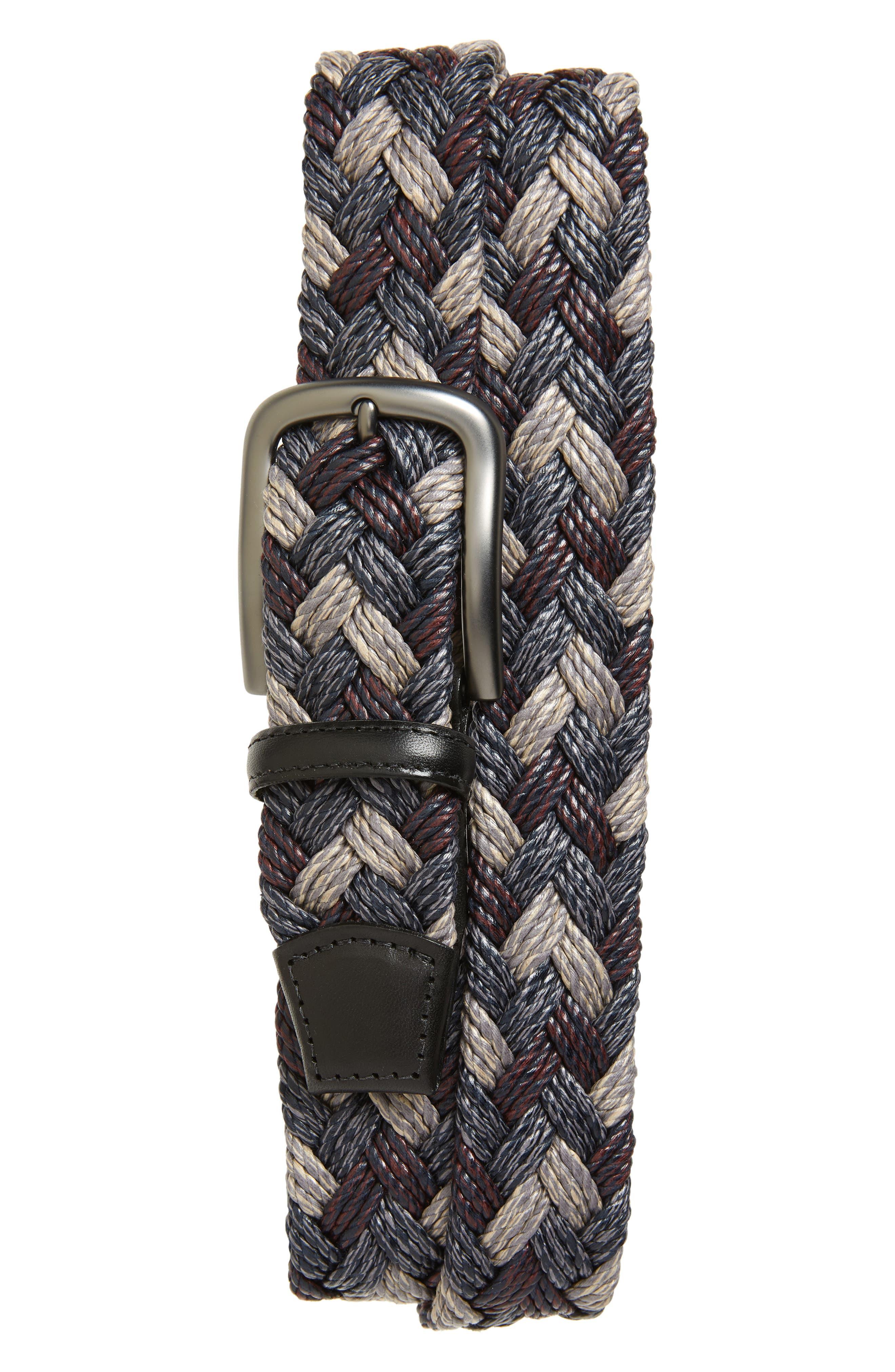 Torino Belts Braided Cotton Belt, Grey/ Burgundy