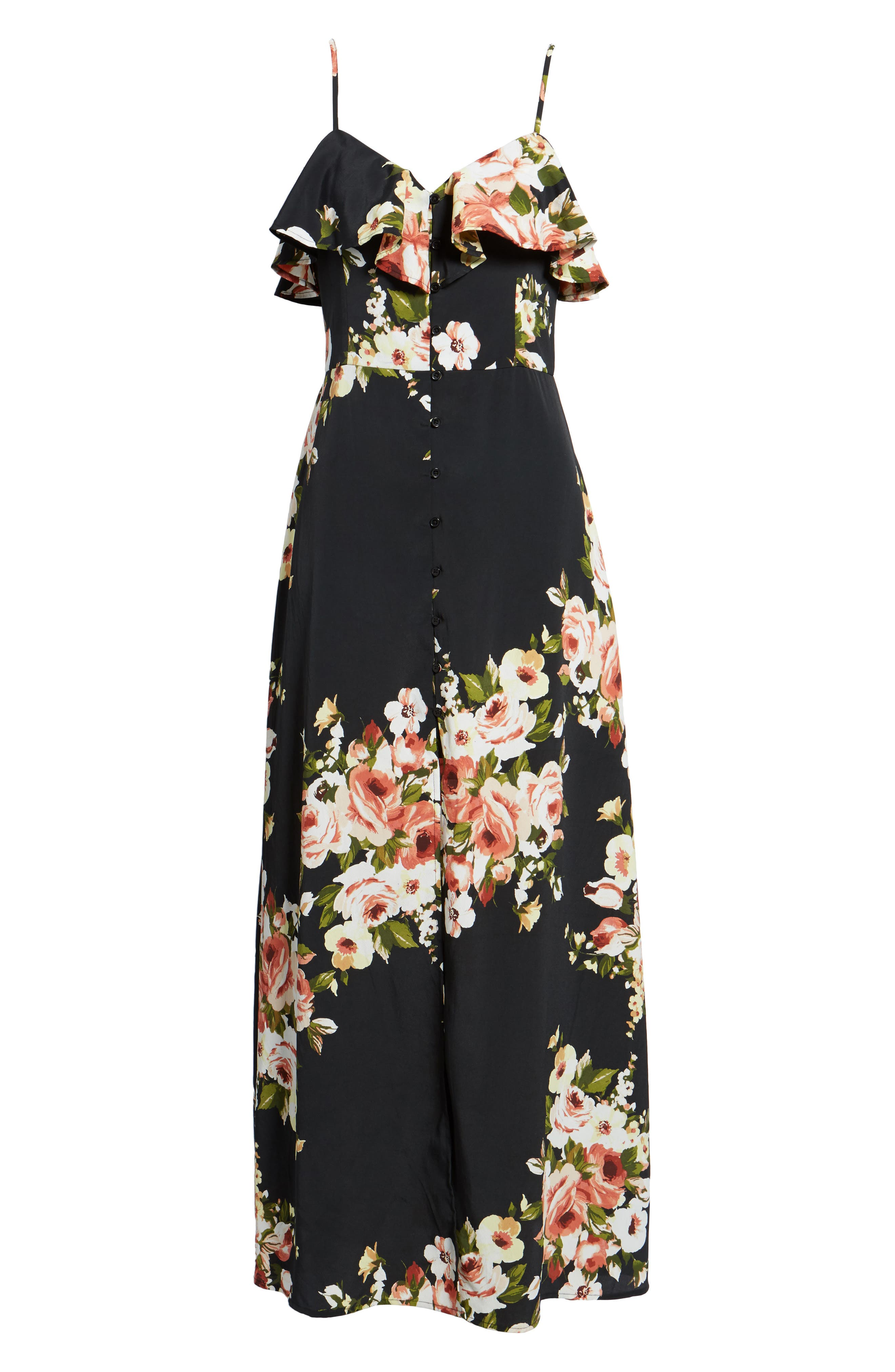 Floral Maxi Dress,                             Alternate thumbnail 7, color,                             010