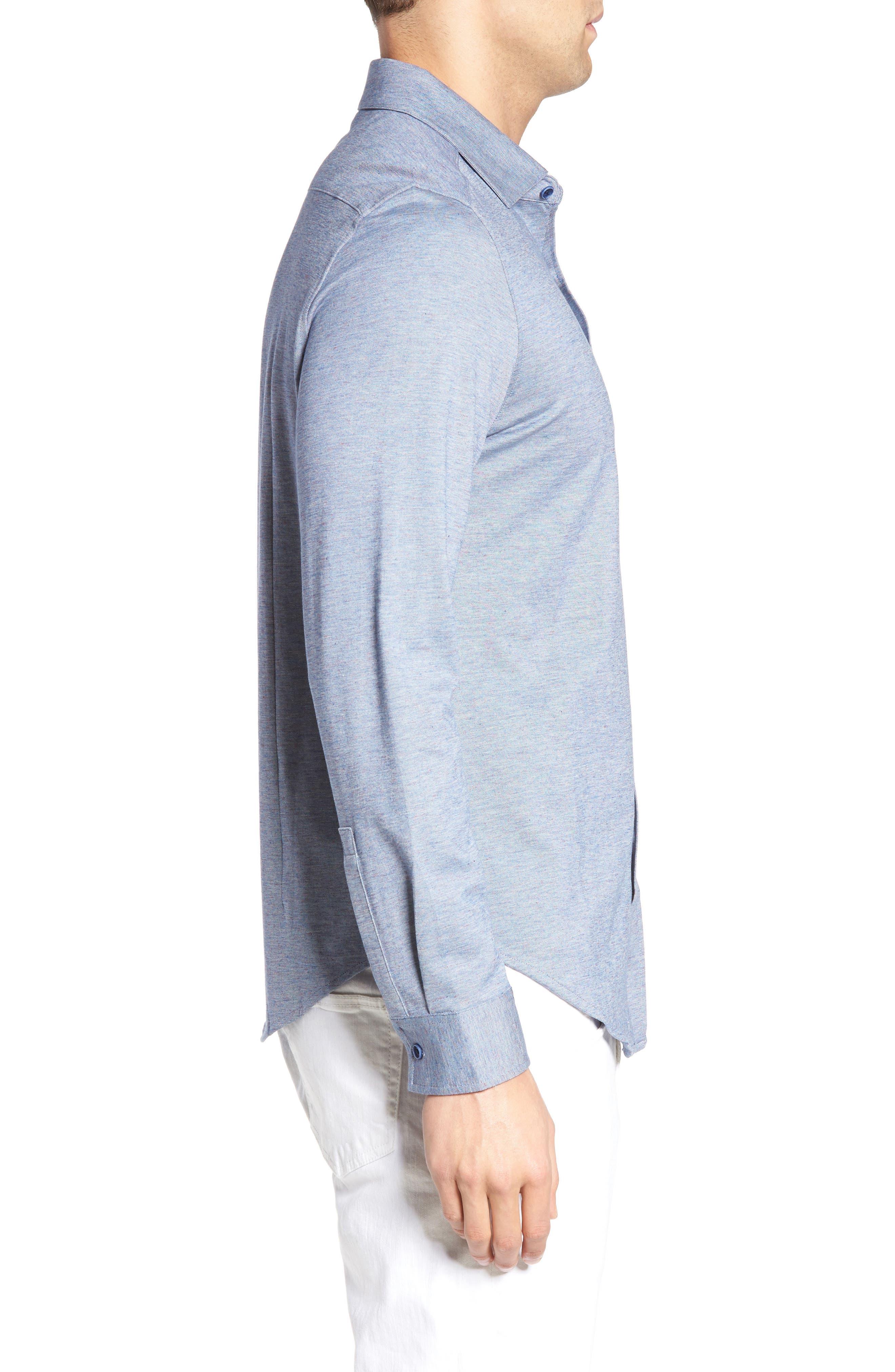 Shaped Fit Knit Sport Shirt,                             Alternate thumbnail 3, color,                             419
