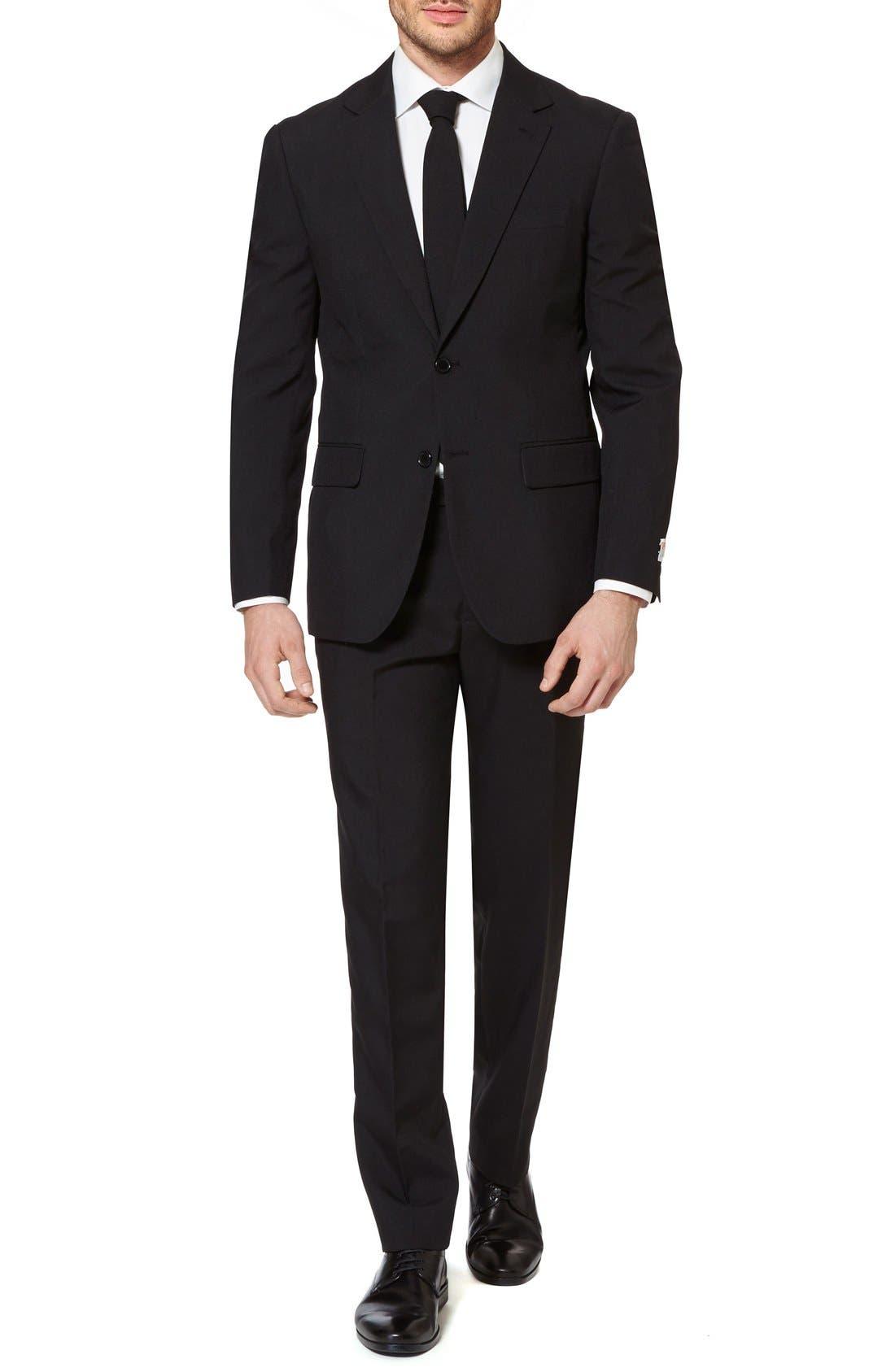 'Black Knight' Trim Fit Two-Piece Suit with Tie,                             Alternate thumbnail 4, color,                             001