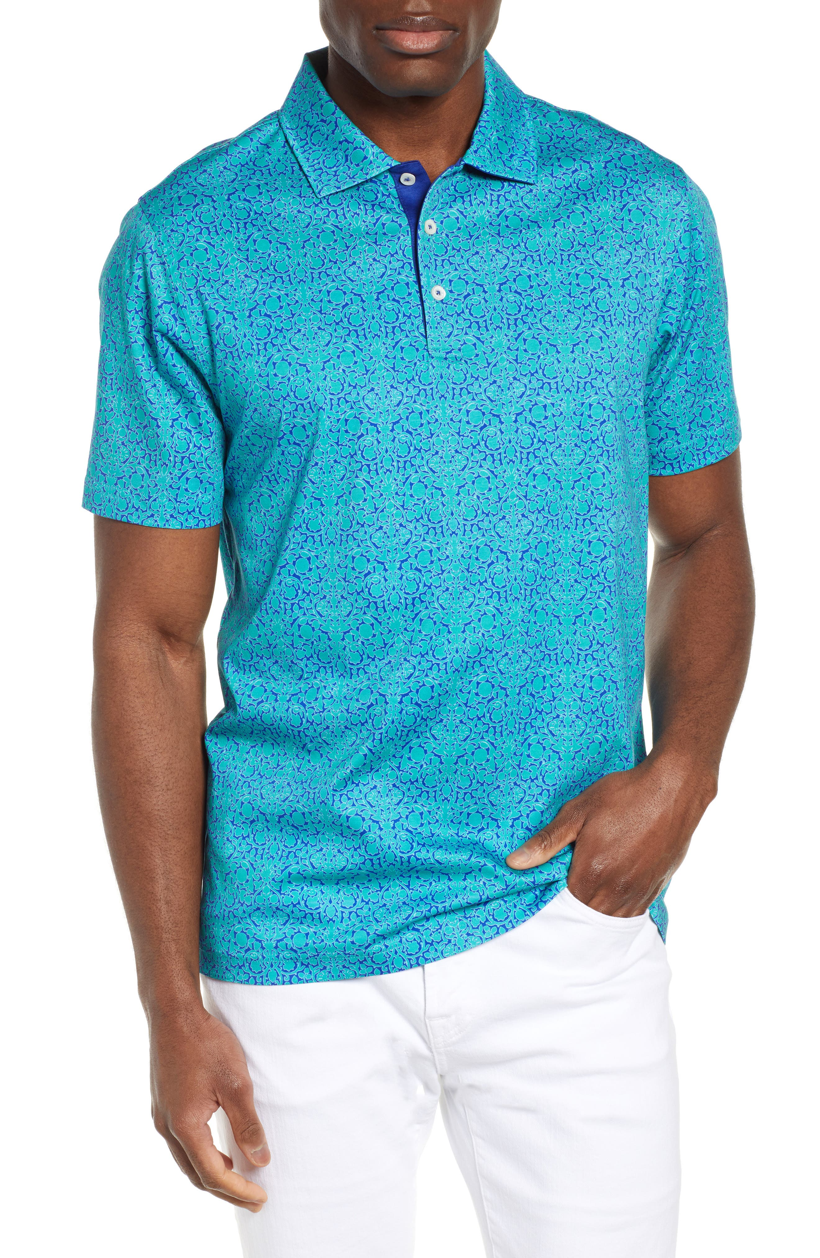 BUGATCHI Regular Fit Digital Print Polo, Main, color, EMERALD