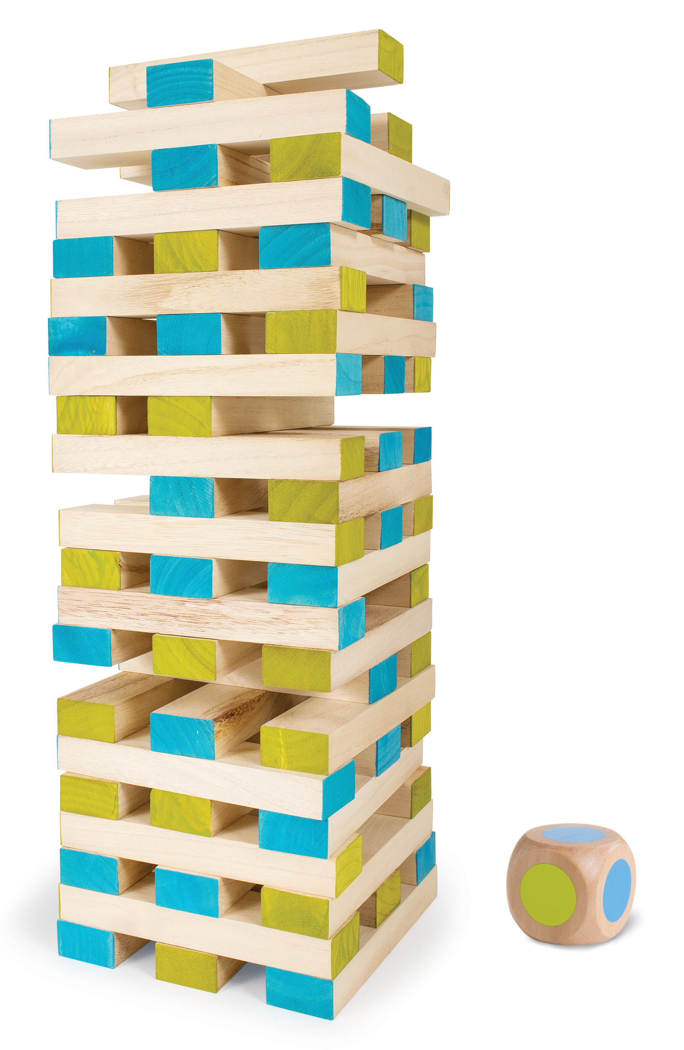 Large Wood Block Tower Toy,                             Alternate thumbnail 3, color,                             GREEN