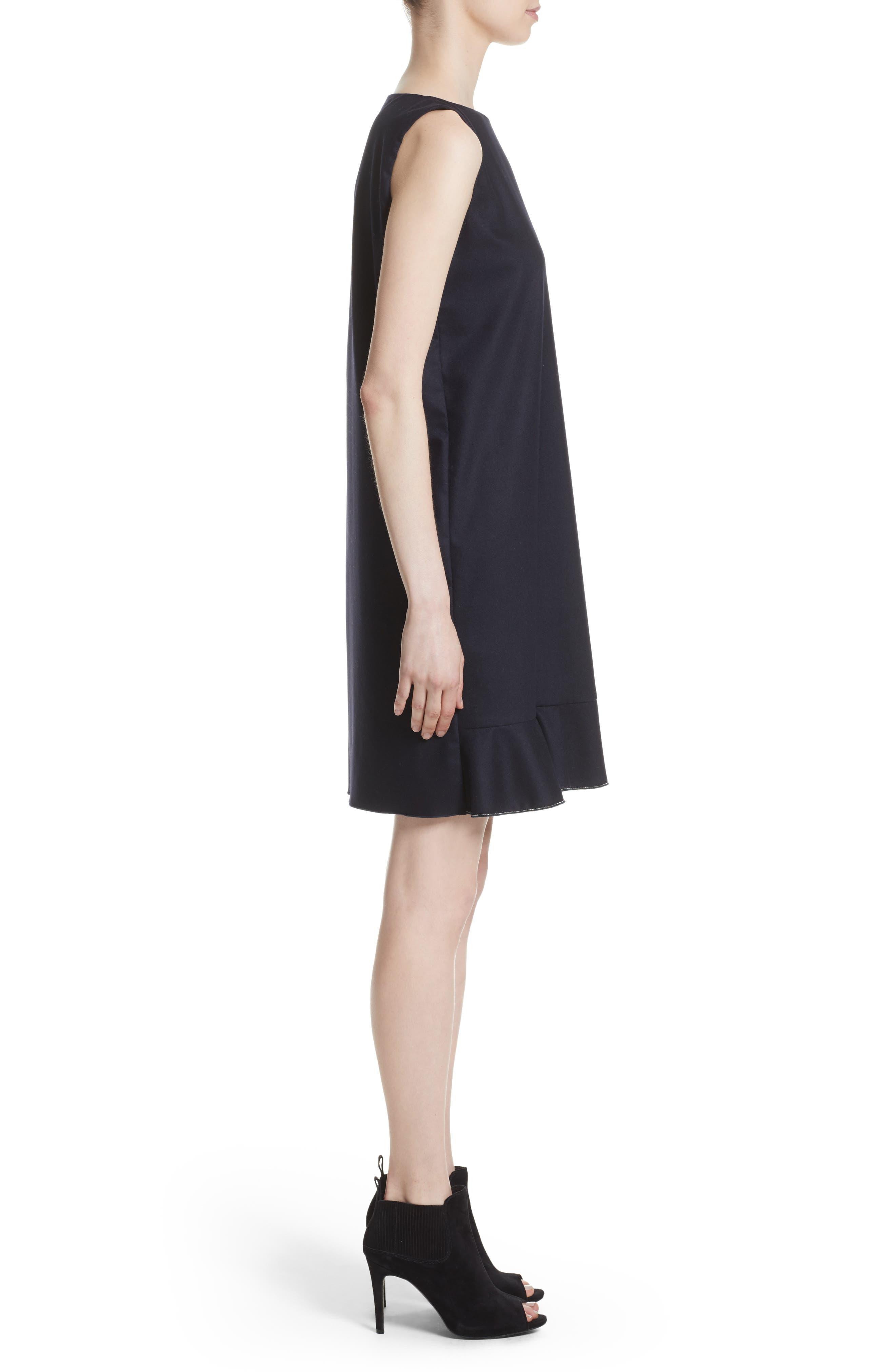 FABIANA FILIPPI,                             Stretch Wool & Cashmere Ruffle Dress,                             Alternate thumbnail 3, color,                             400