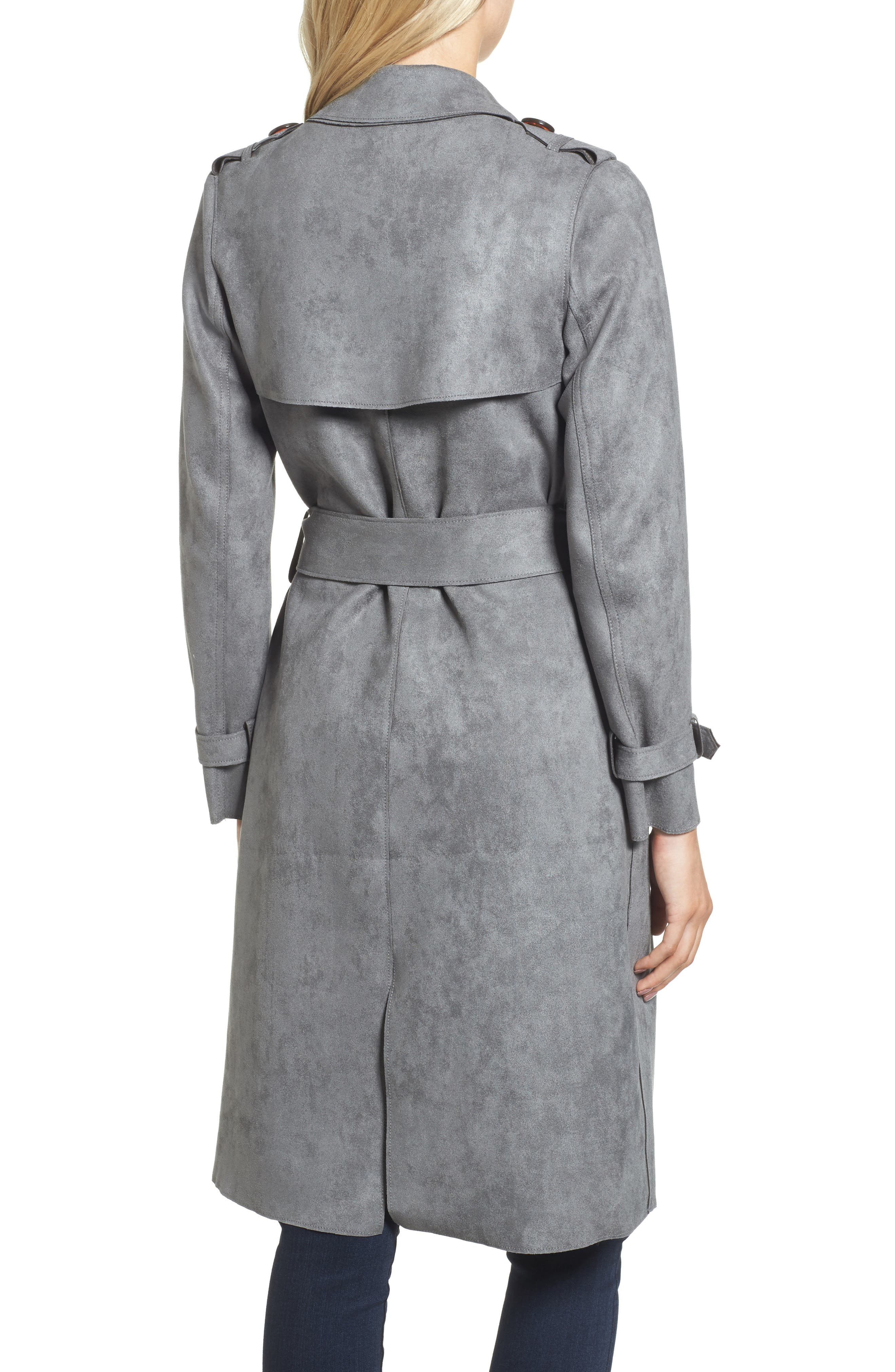 Faux Suede Long Trench Coat,                             Alternate thumbnail 2, color,                             030