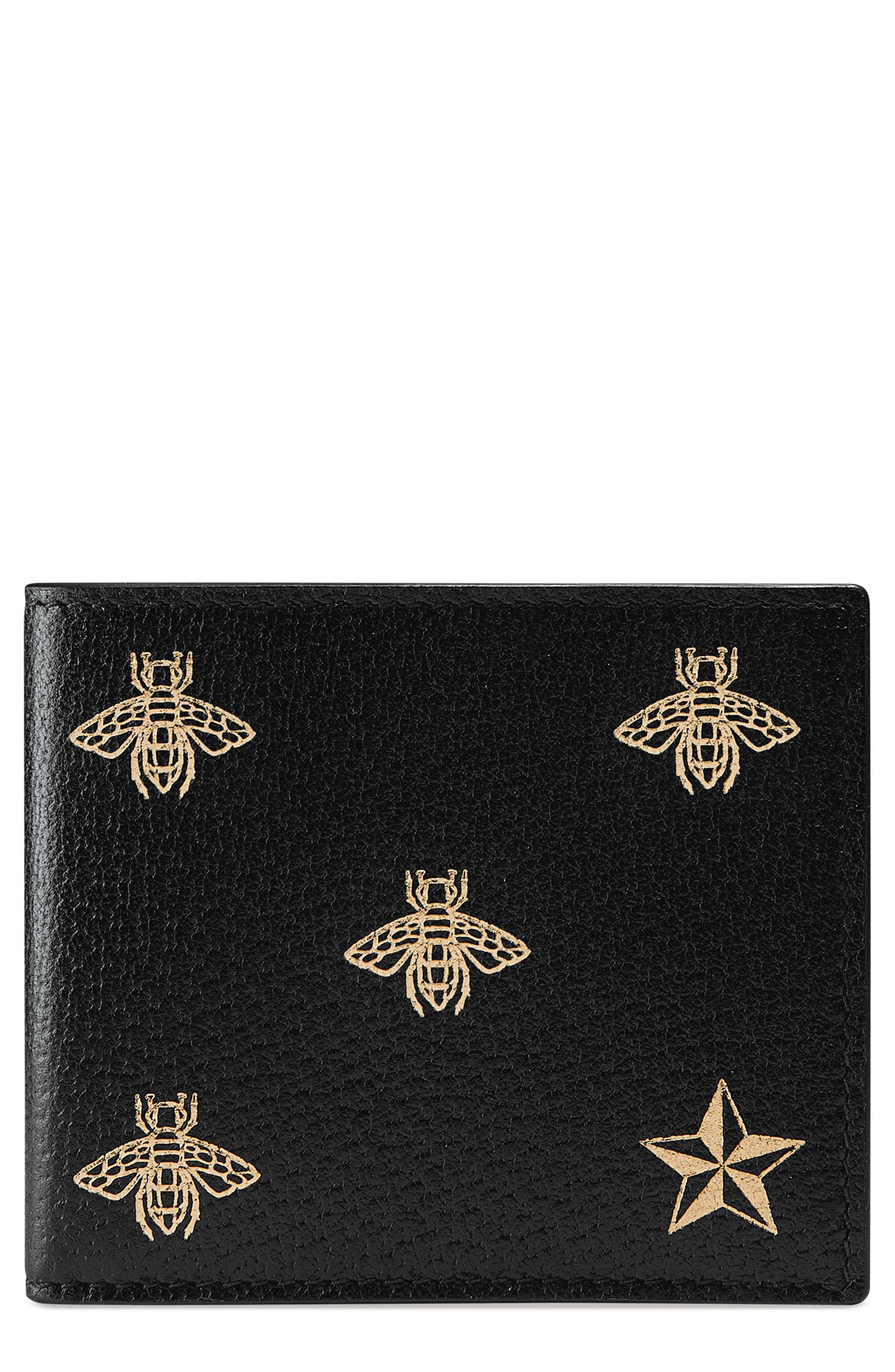 Bee Leather Wallet,                             Main thumbnail 1, color,                             001