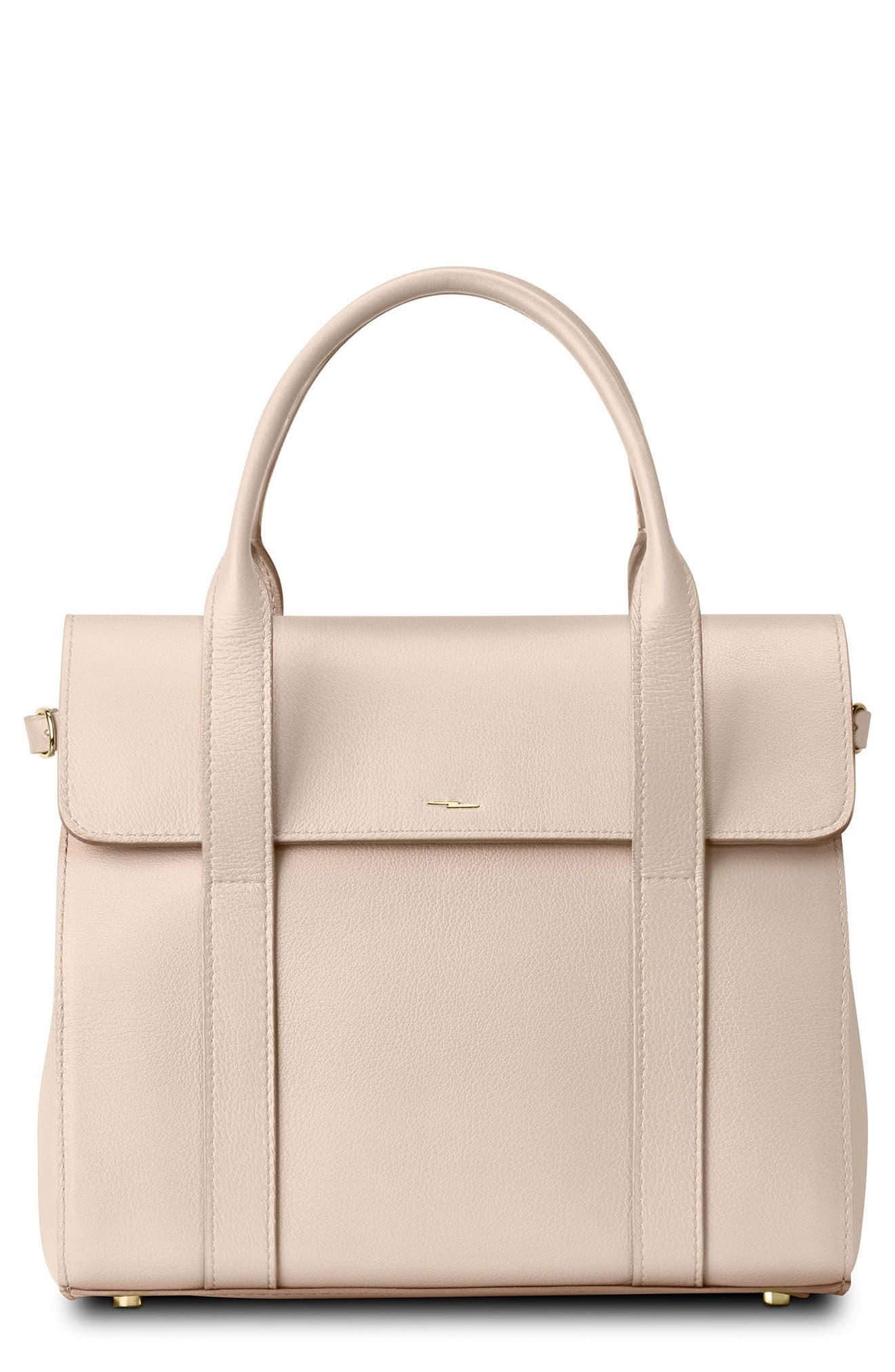 Small Grained Leather Satchel,                         Main,                         color, SOFT BLUSH