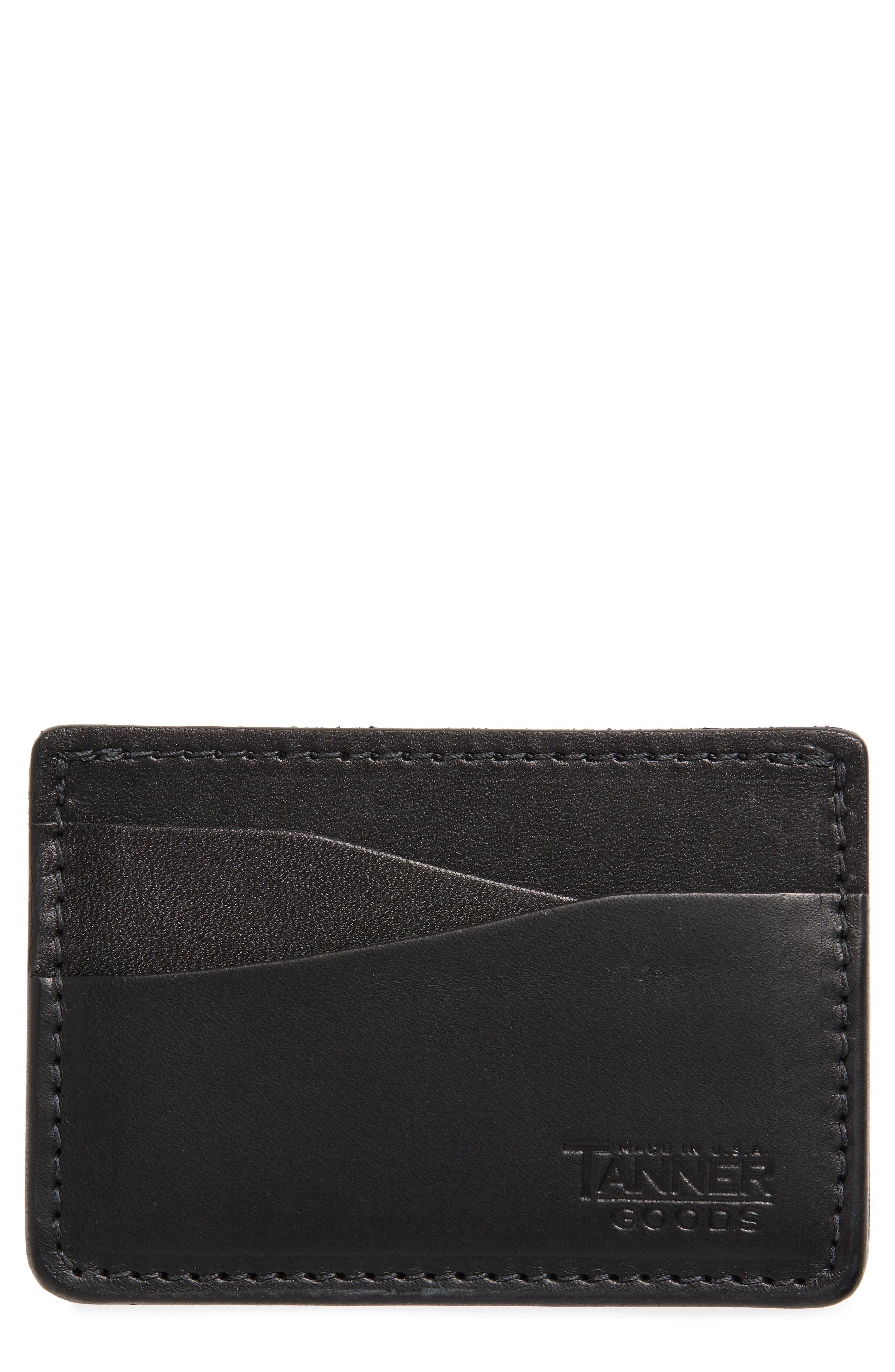 Journeyman Leather Card Case,                         Main,                         color, BLACK