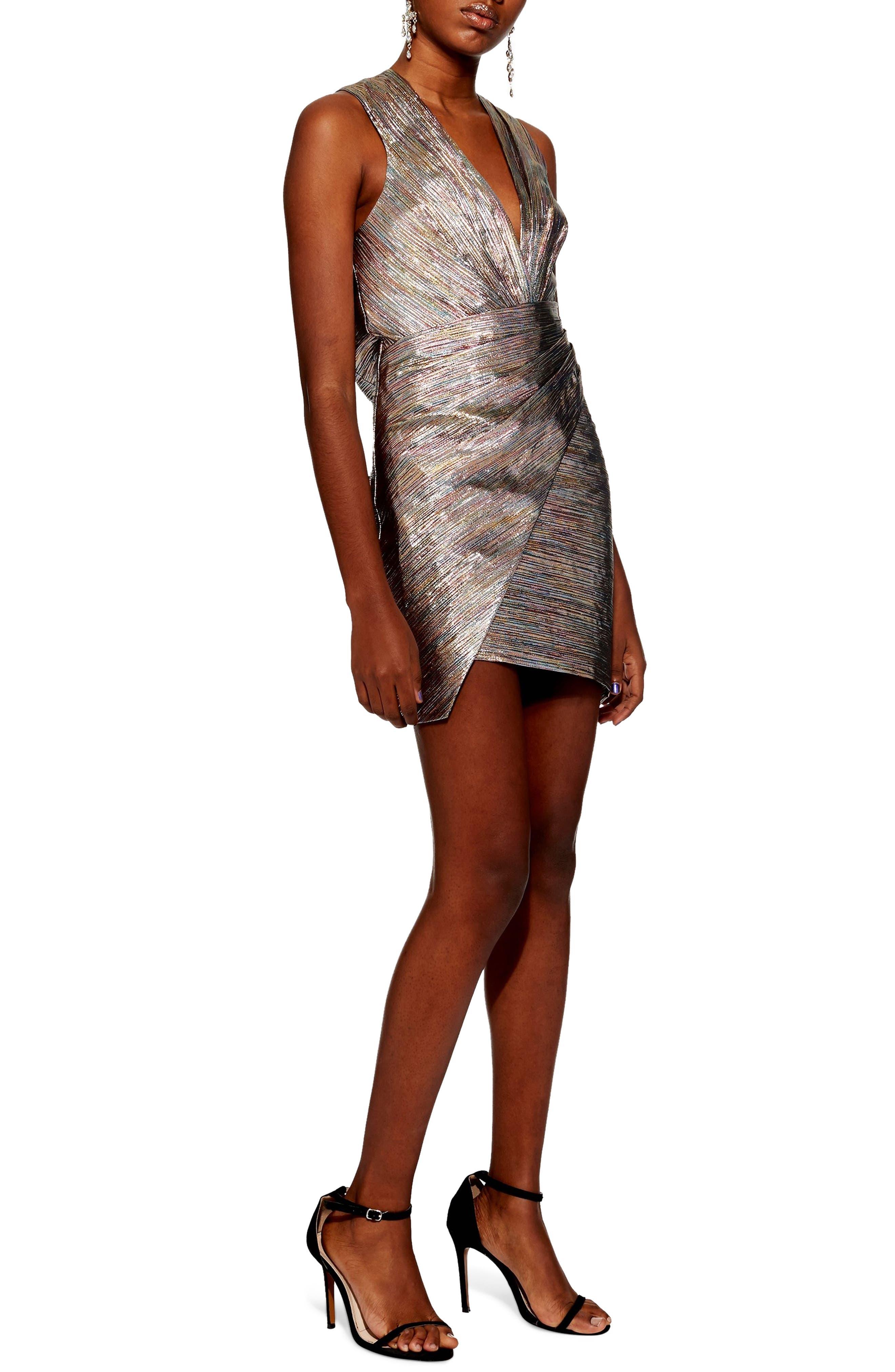 Metallic Wrap Dress,                             Main thumbnail 1, color,                             SILVER MULTI