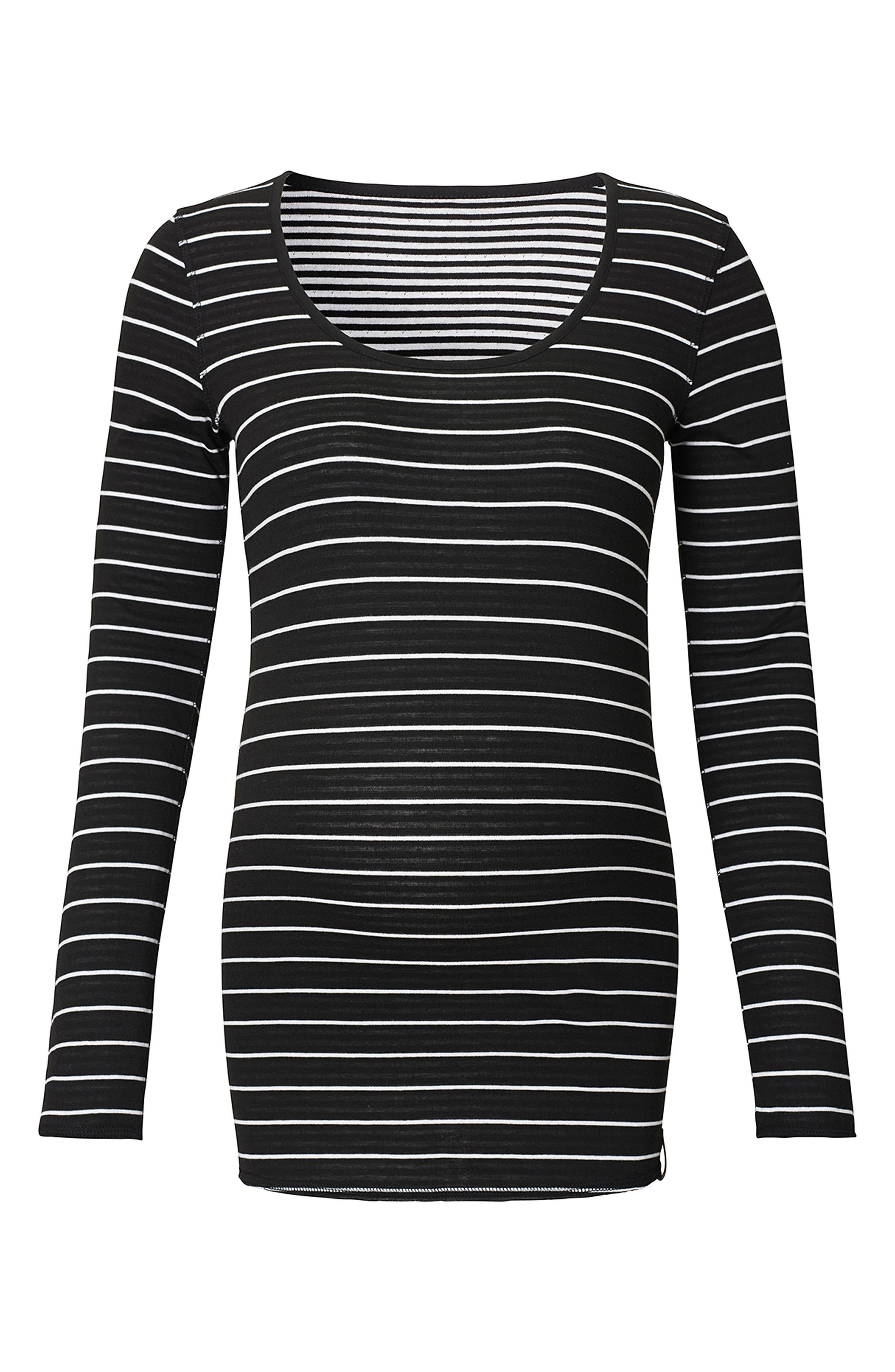 Ivy Stripe Maternity Shirt,                         Main,                         color, BLACK