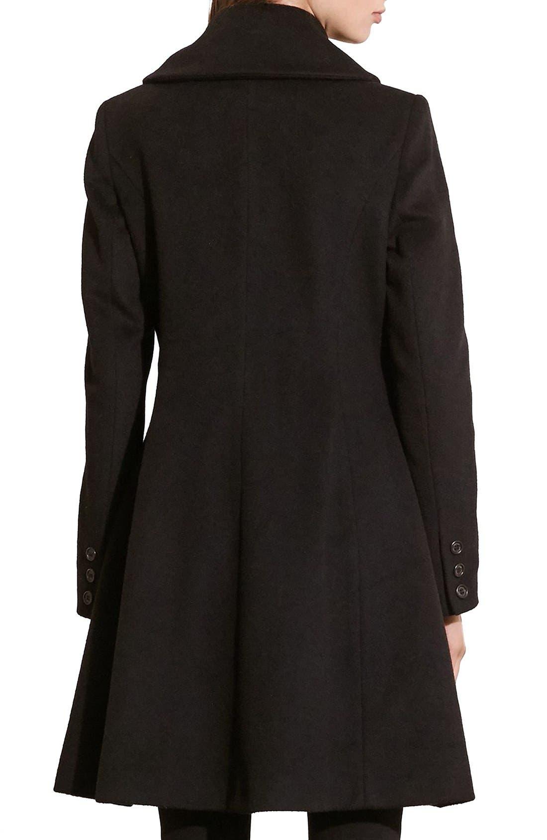 Fit & Flare Military Coat,                             Alternate thumbnail 4, color,                             BLACK