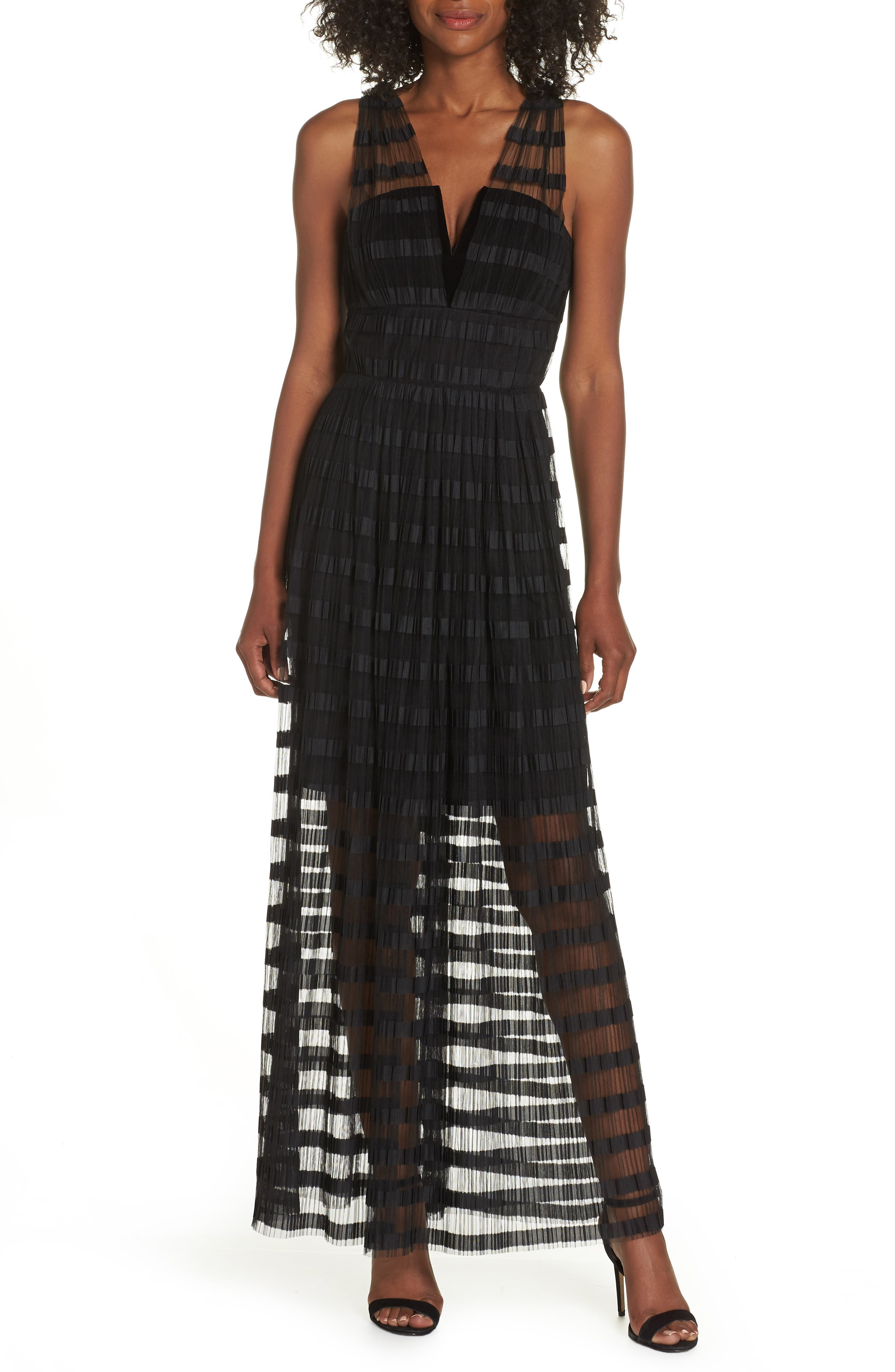 ADELYN RAE Woven Illusion Dress in Black