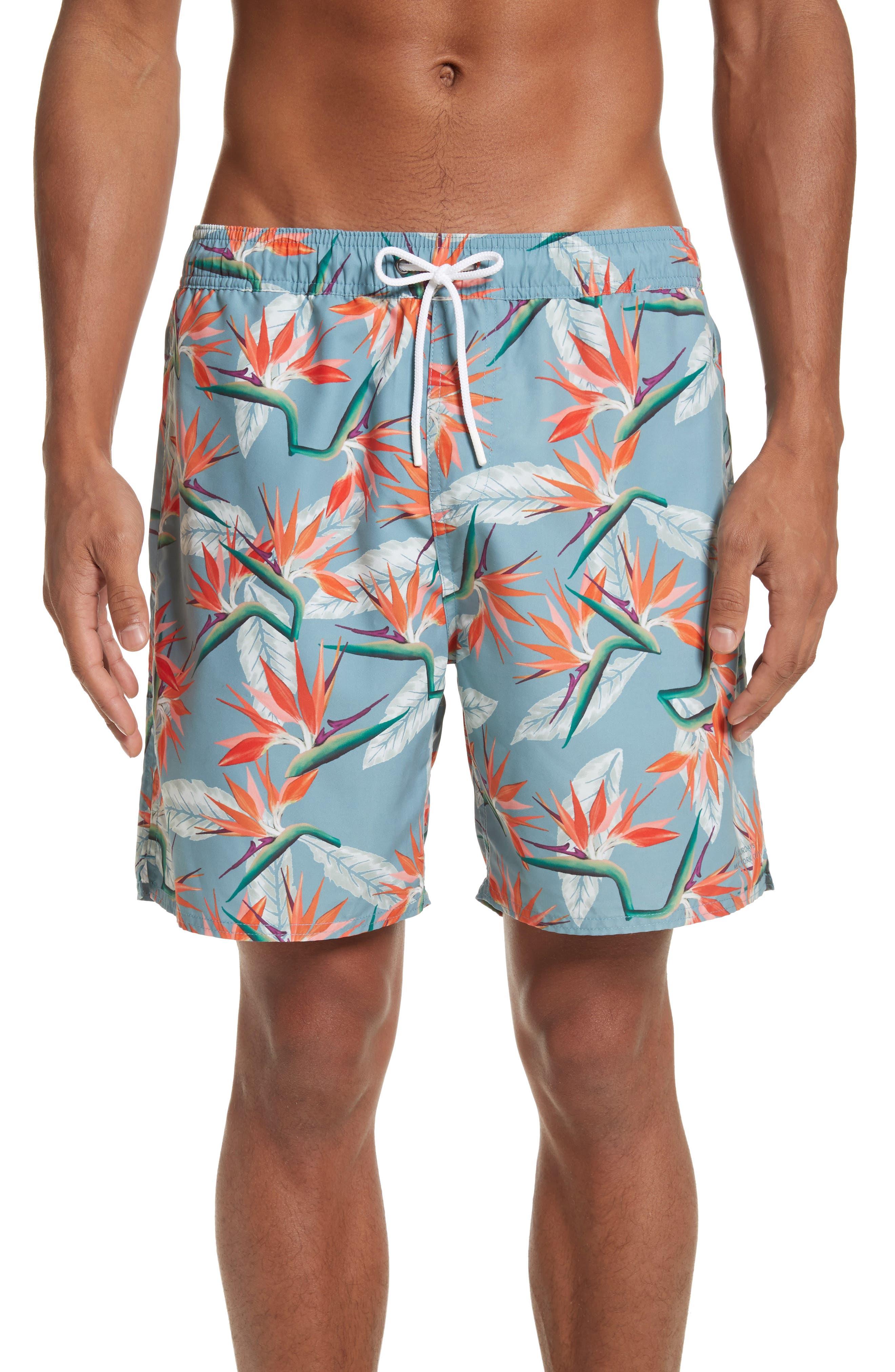 Timothy Paradise Swim Shorts,                             Main thumbnail 1, color,                             PARADISE PRINT