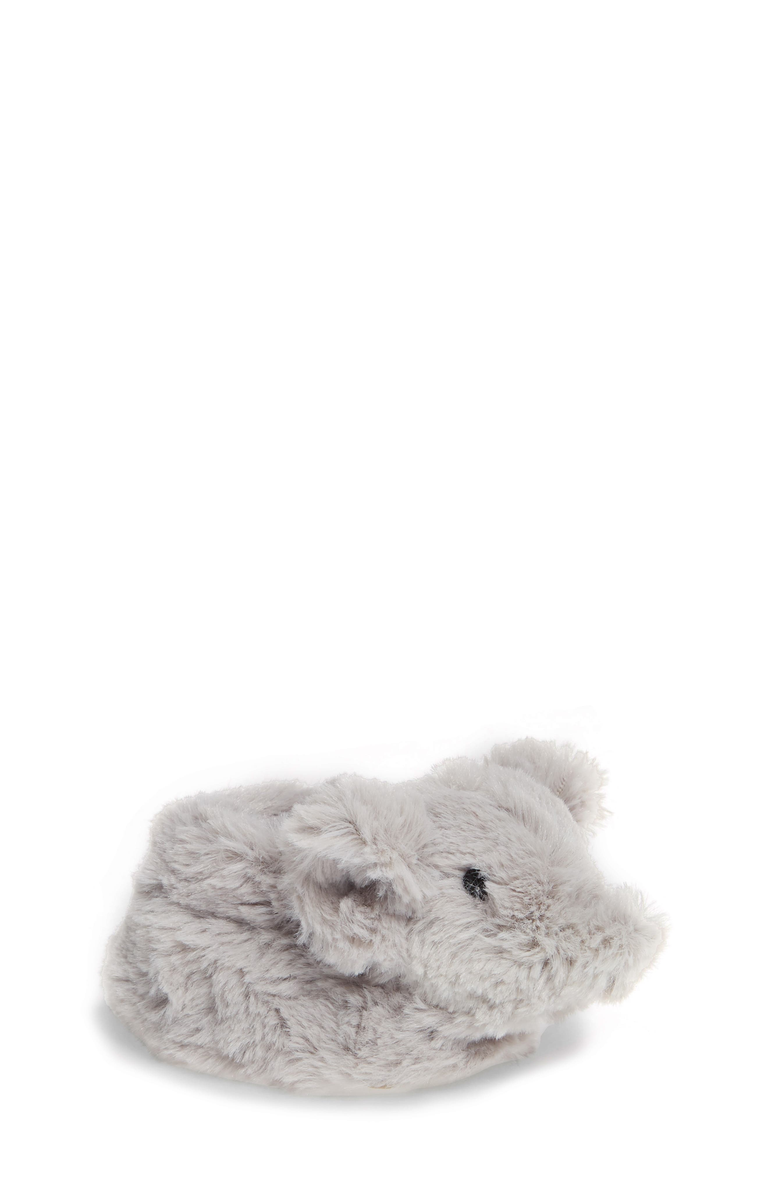 Faux Fur Animal Slipper,                             Main thumbnail 1, color,                             GREY ELEPHANT