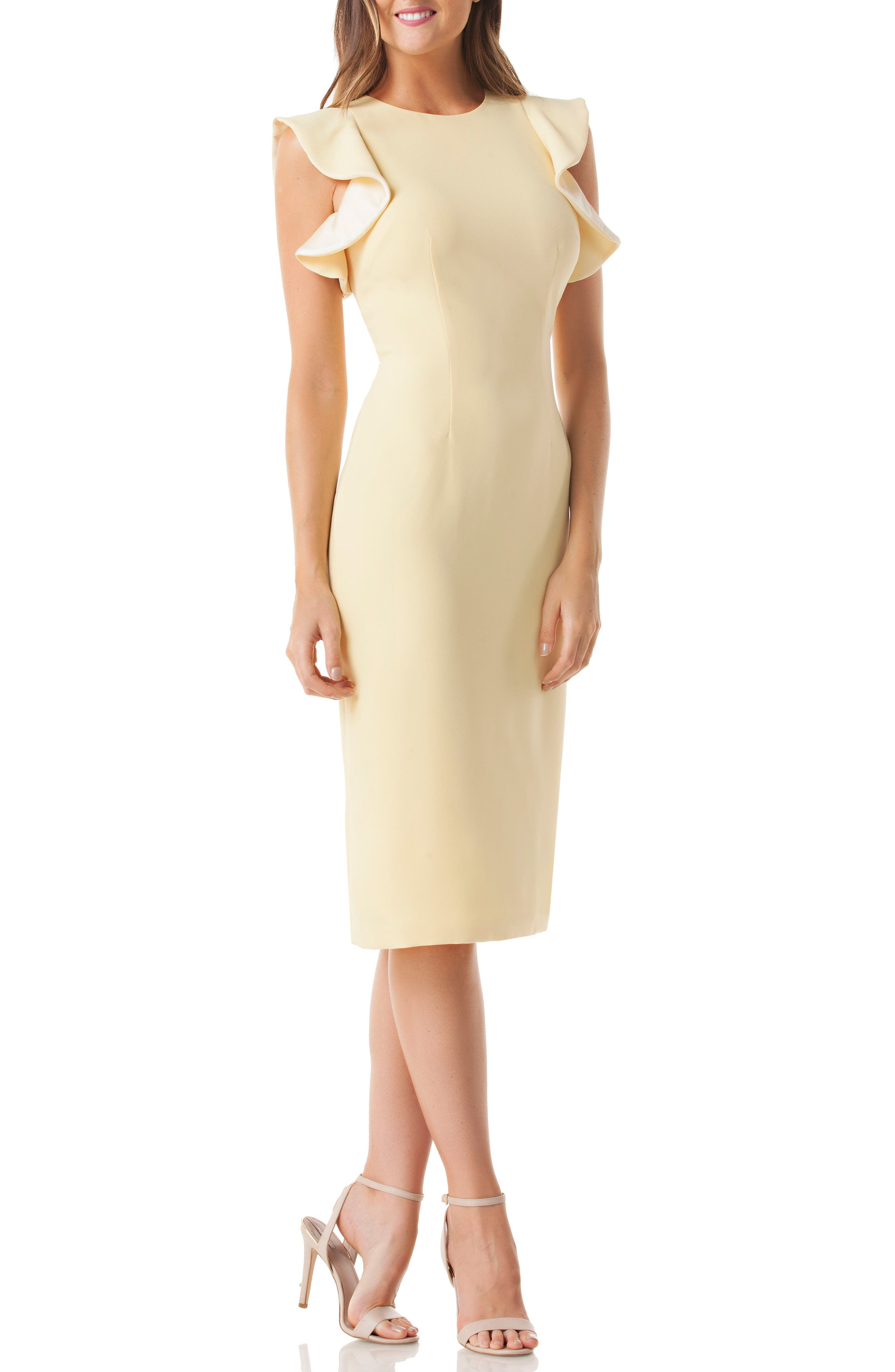 Ruffle Crepe Sheath Dress,                             Main thumbnail 1, color,                             YELLOW