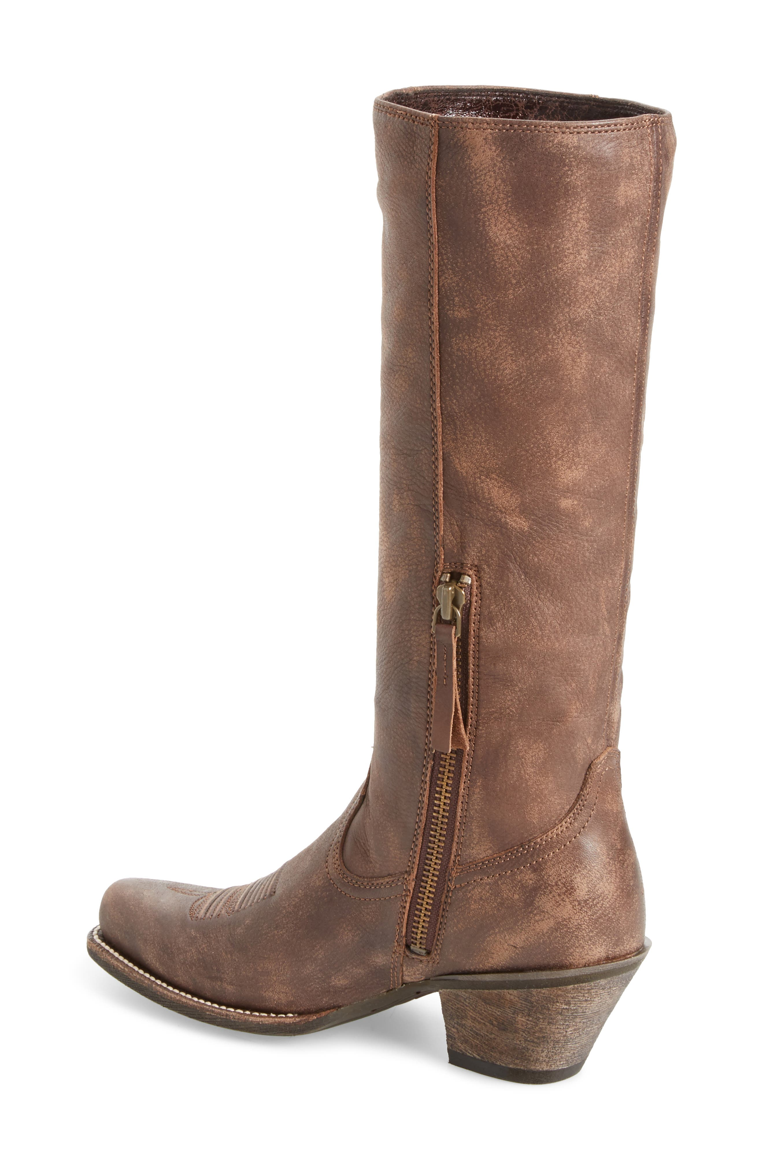 Leyton Fringe Western Boot,                             Alternate thumbnail 2, color,                             TACK ROOM CHOCOLATE LEATHER
