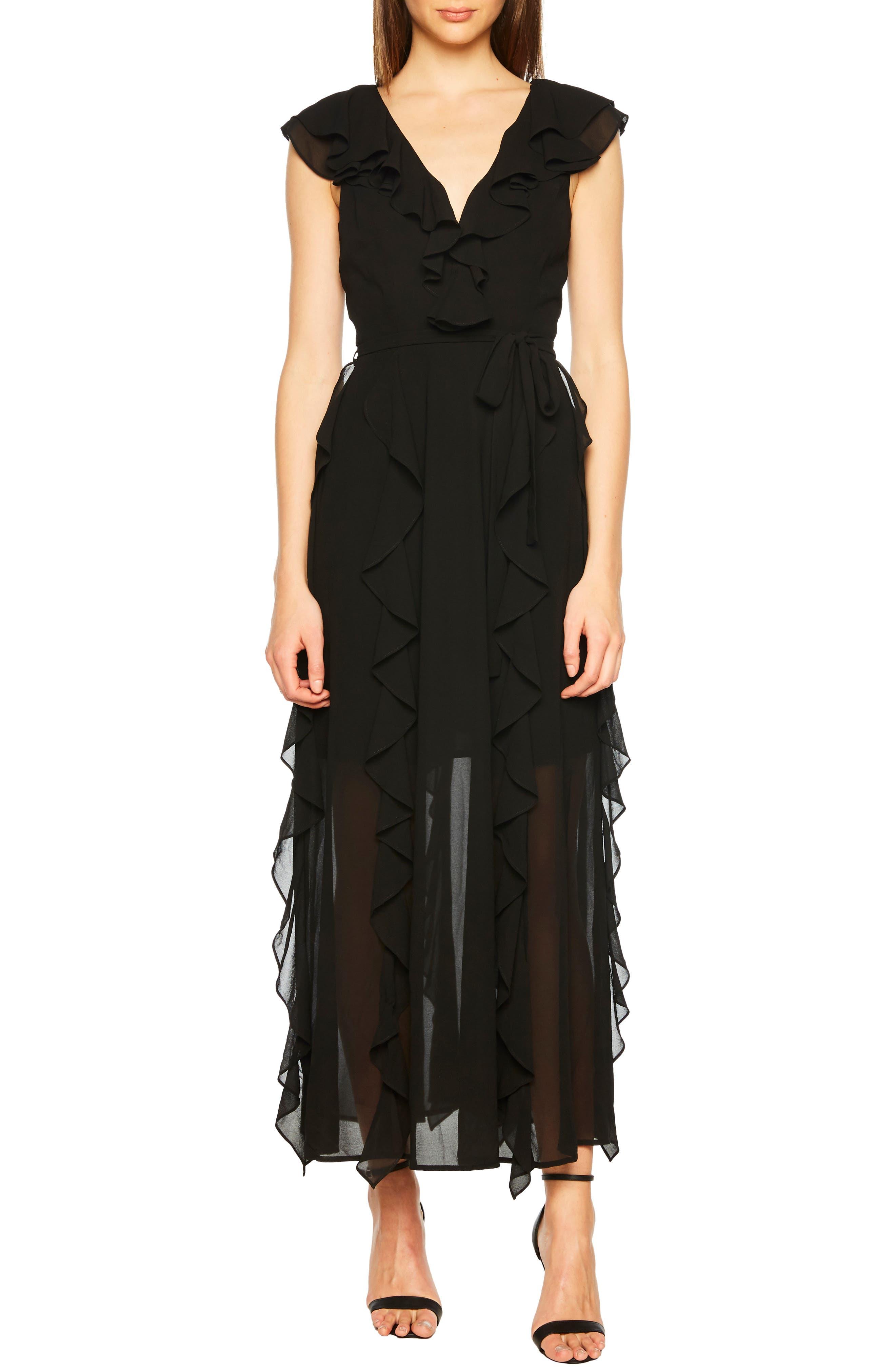 Emily Frill Maxi Dress,                             Main thumbnail 1, color,                             BLACK