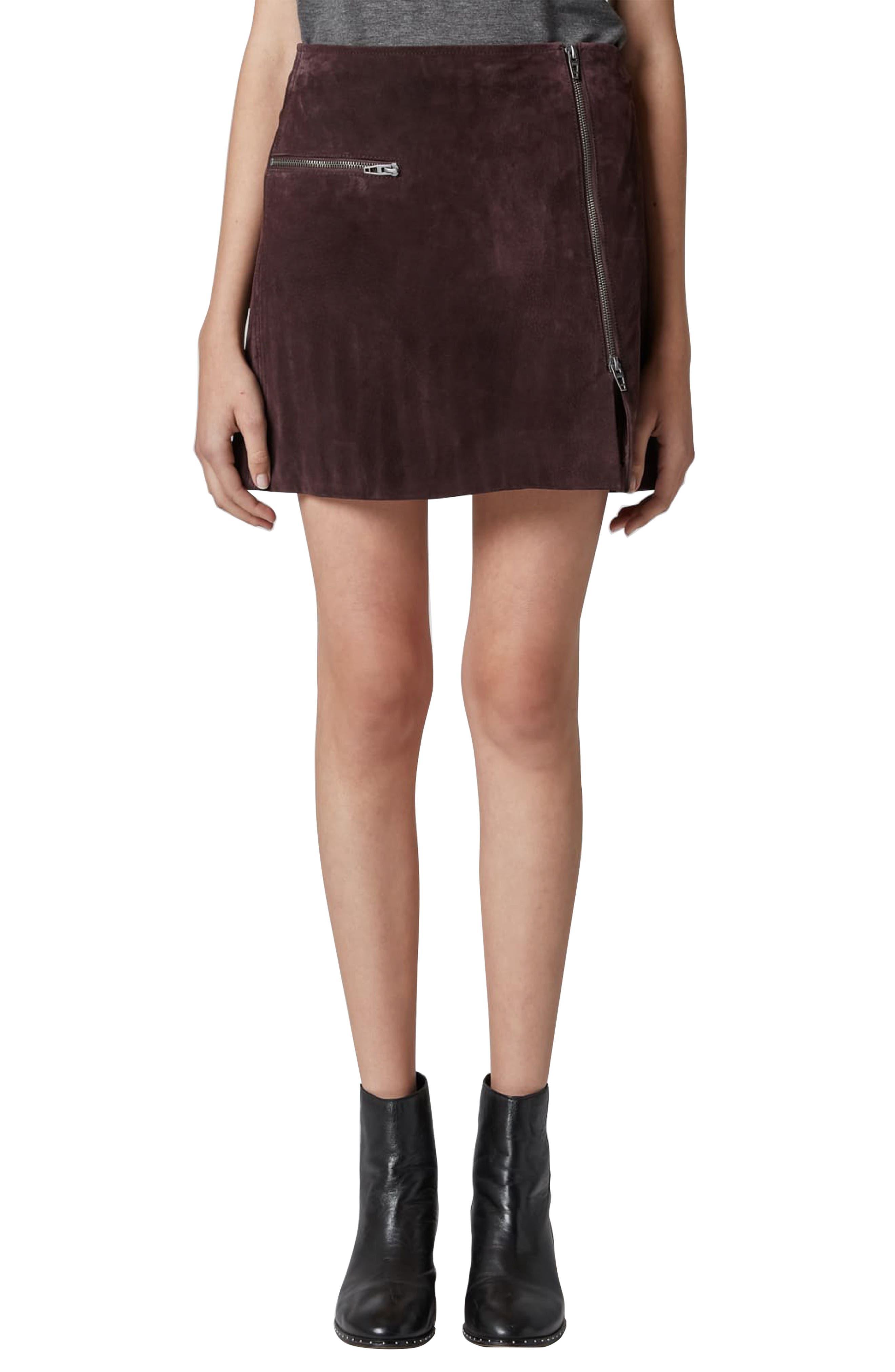 Suede Miniskirt,                             Main thumbnail 1, color,                             BLACKBERRY