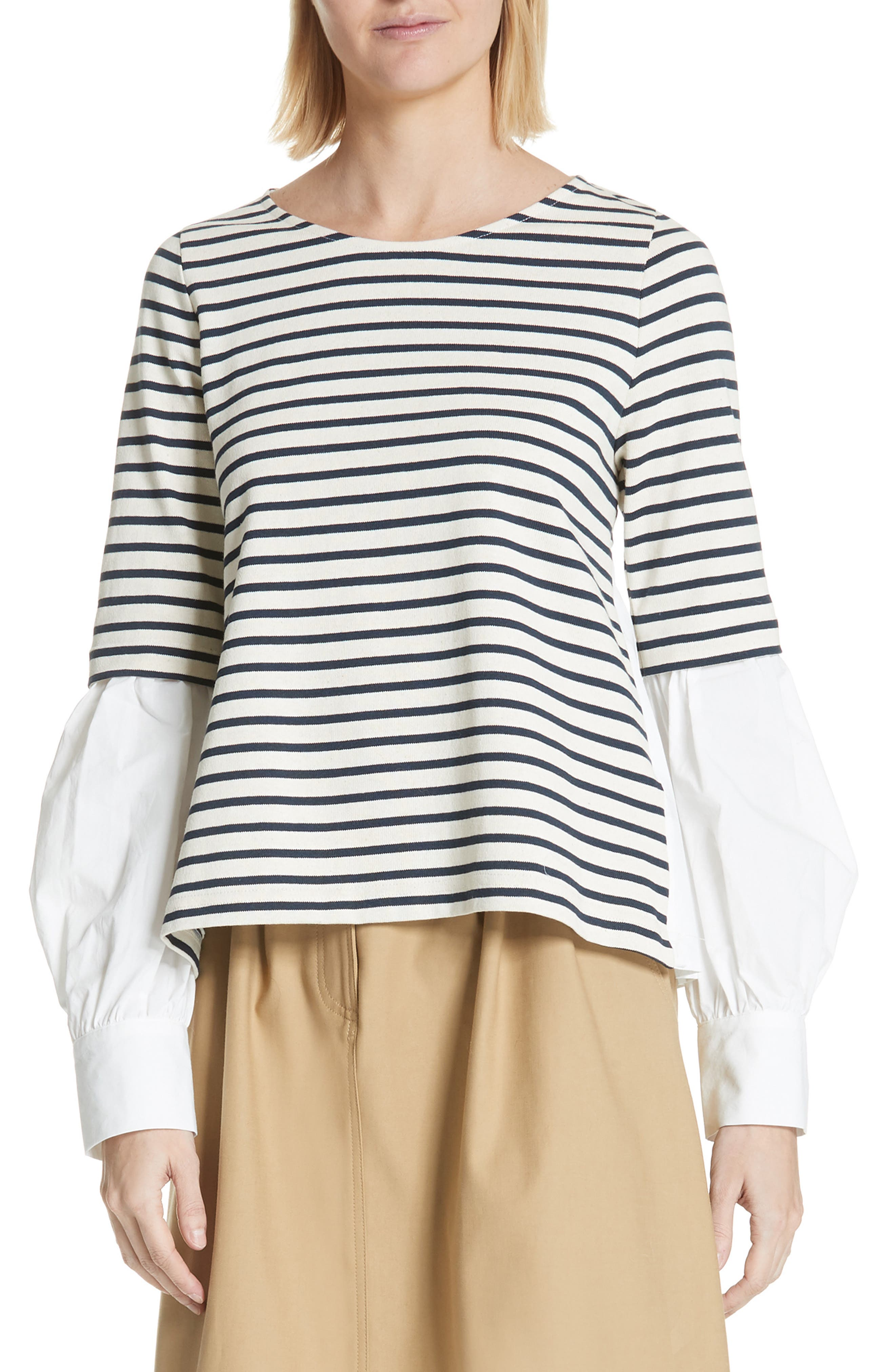 Levine Mixed Media Top,                             Main thumbnail 1, color,                             CREAM/ NAVY STRIPE
