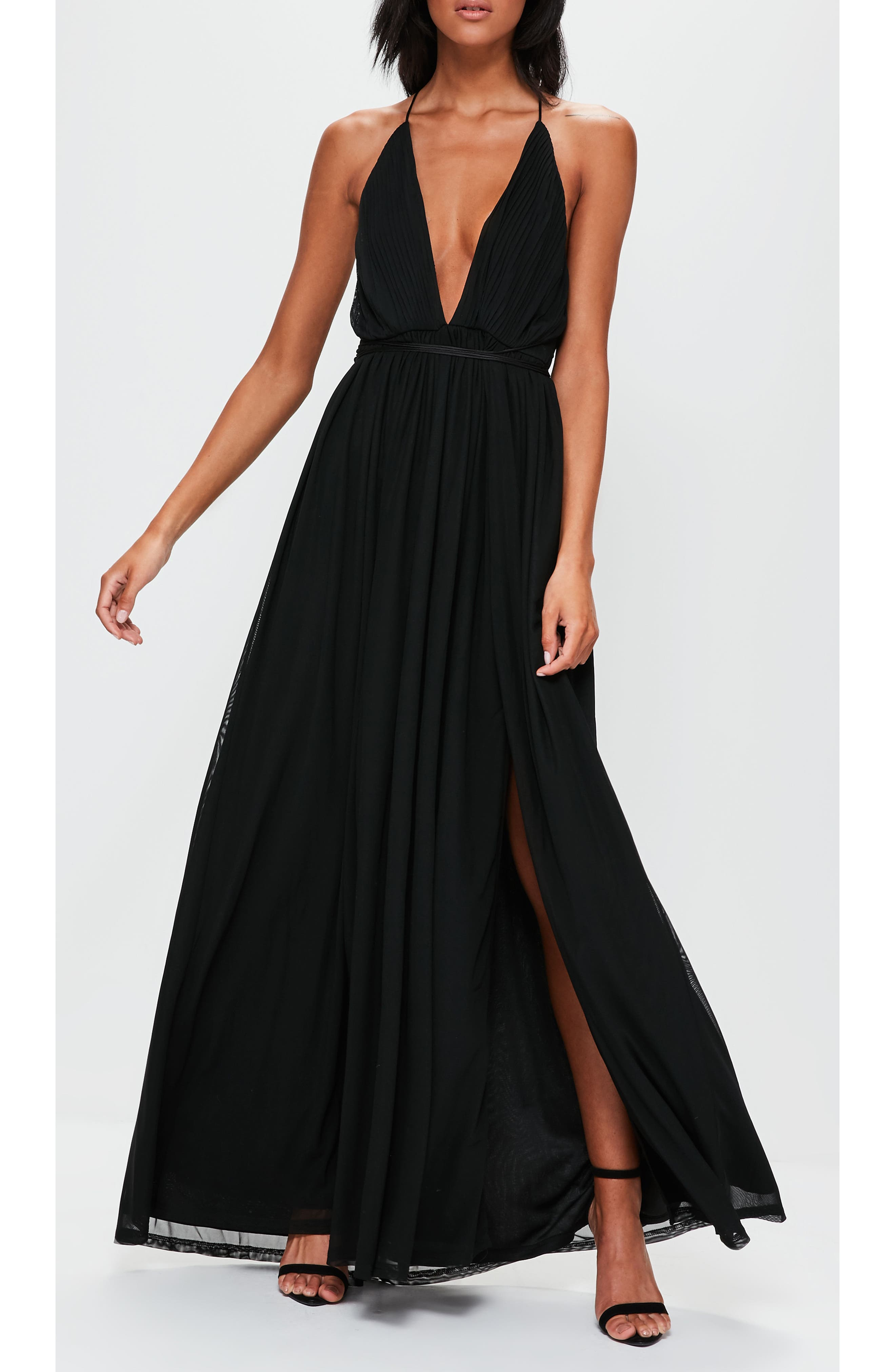 Plunging Maxi Dress,                             Alternate thumbnail 4, color,