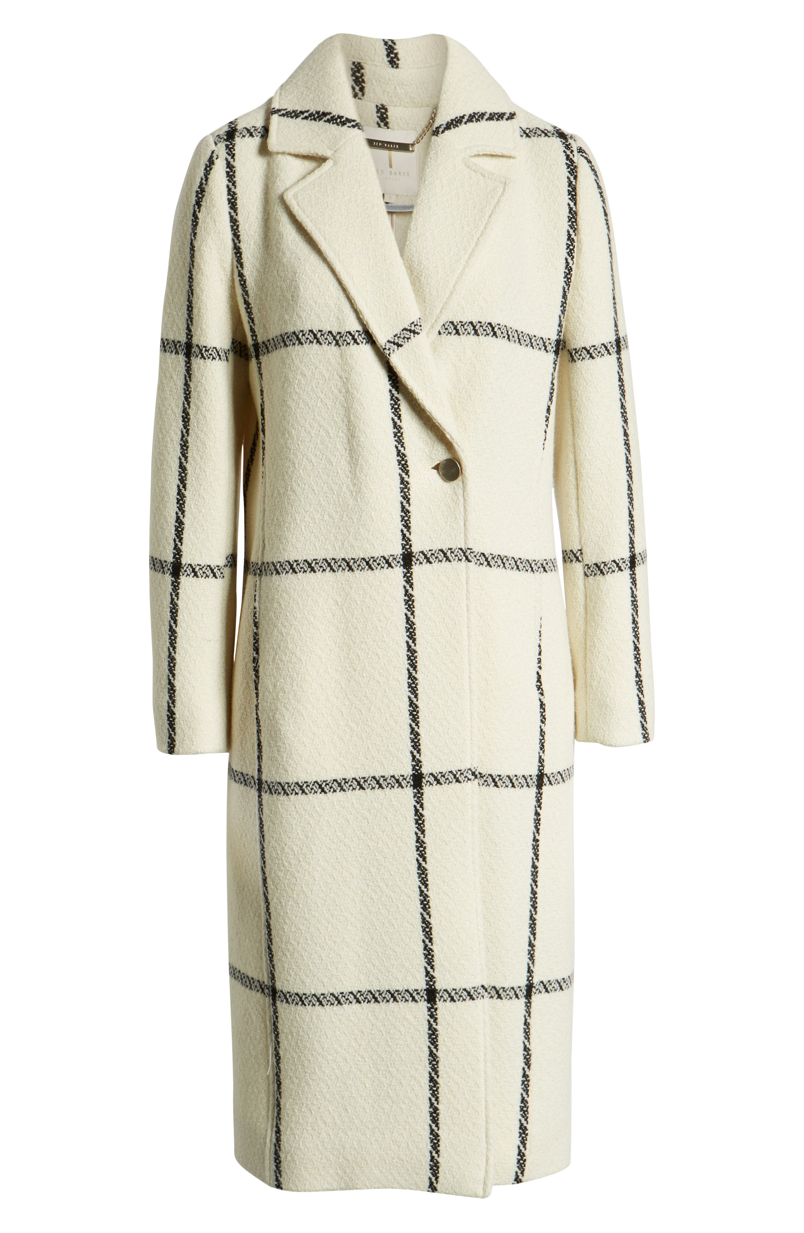 TED BAKER LONDON,                             Soniq Check Wool Blend Long Coat,                             Alternate thumbnail 6, color,                             92-IVORY