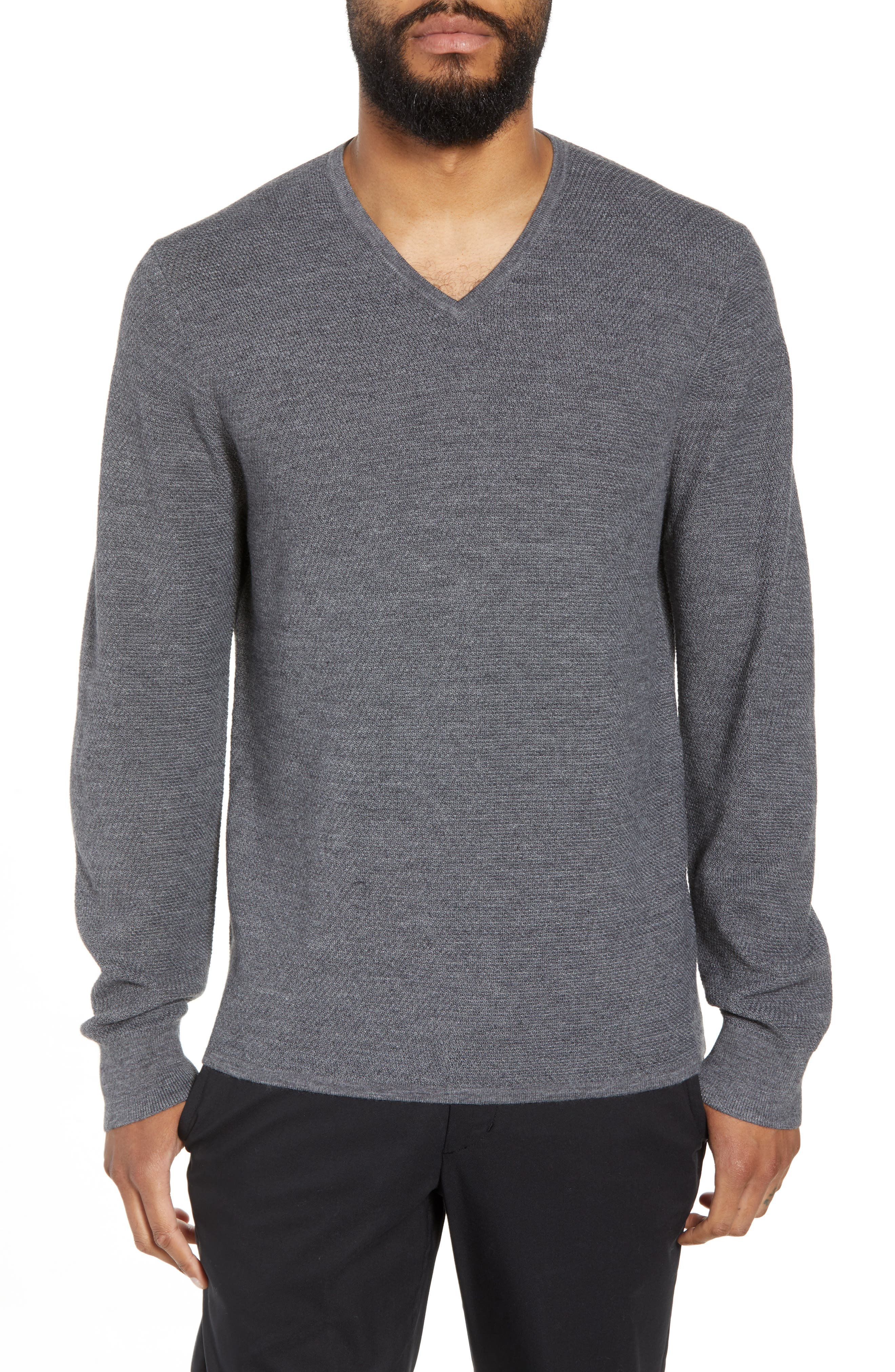Calibrate V-Neck Wool Blend Sweater, Grey