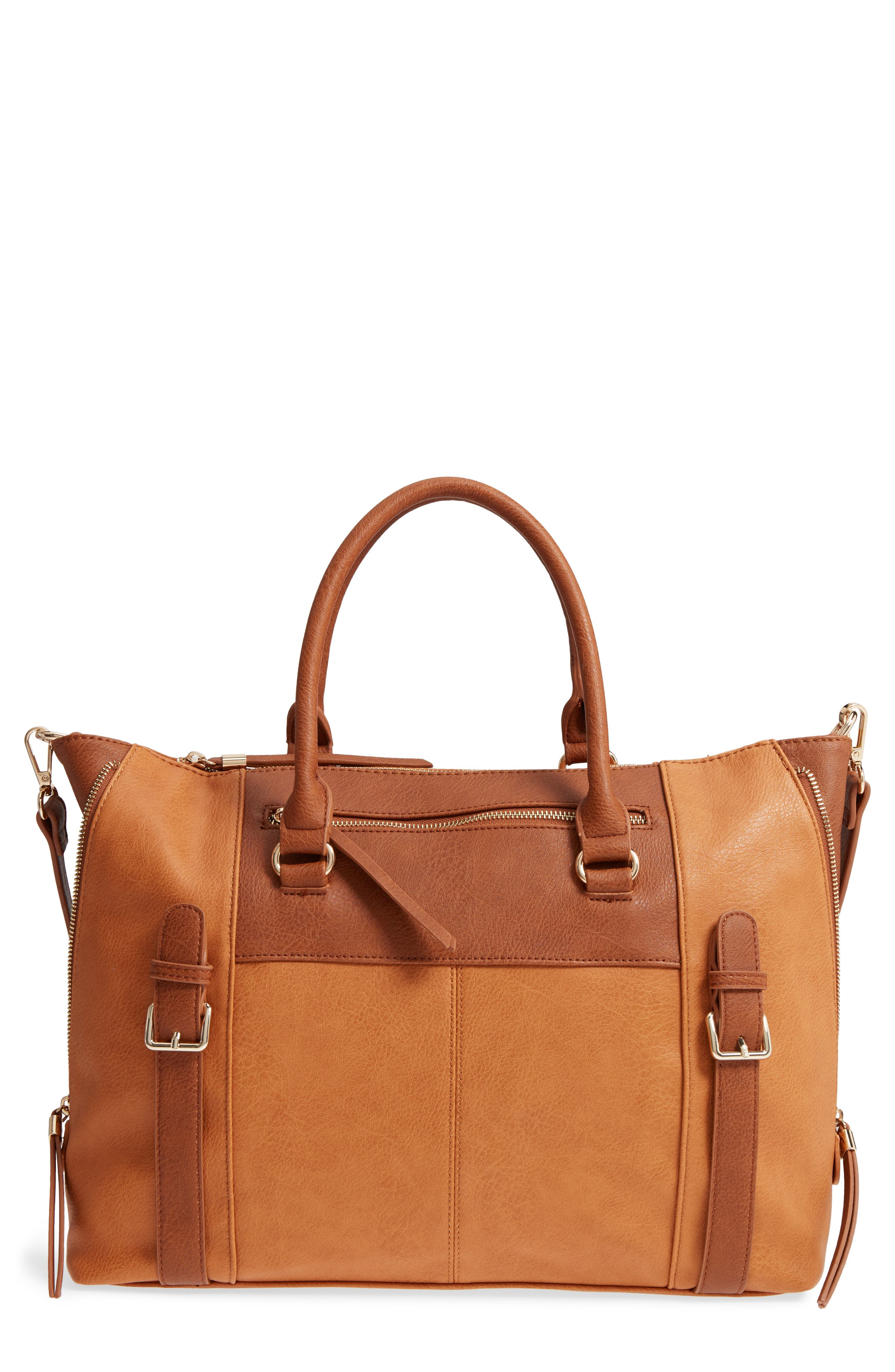 Buckle Faux Leather Tote,                         Main,                         color, 234