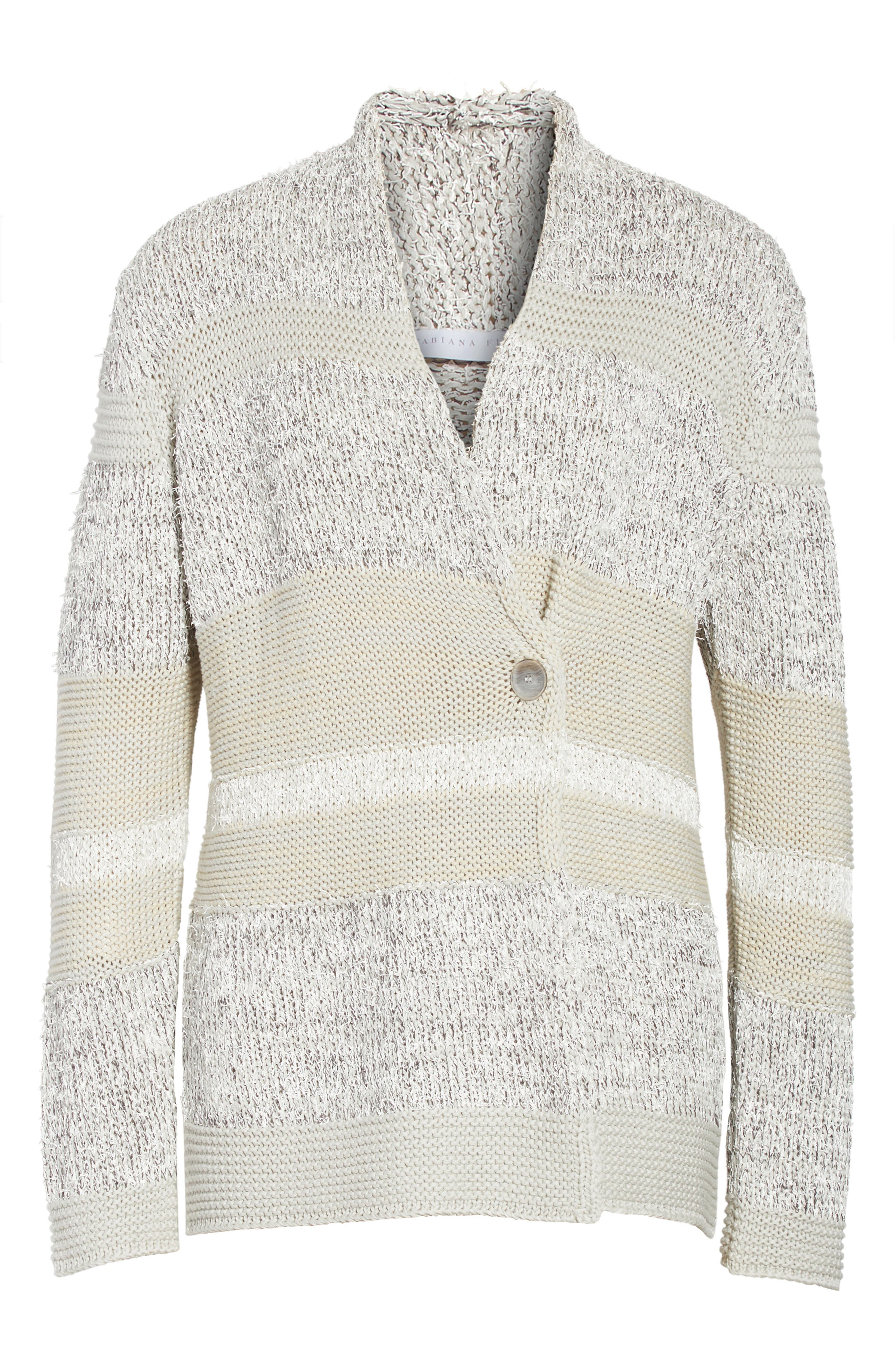 Stripe Metallic Knit Cardigan,                             Alternate thumbnail 6, color,