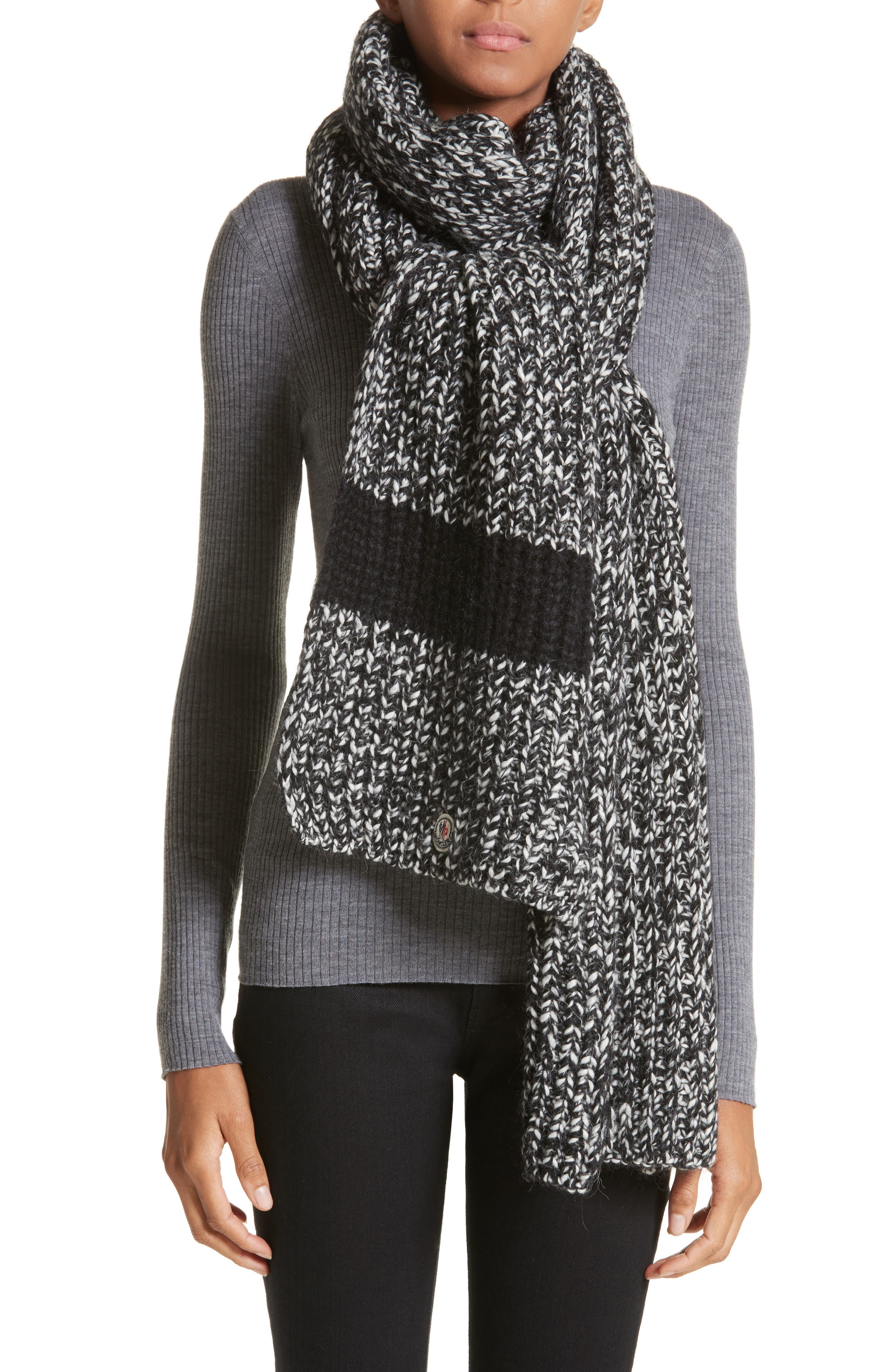 Wide Mélange Knit Scarf,                             Alternate thumbnail 2, color,                             BLACK