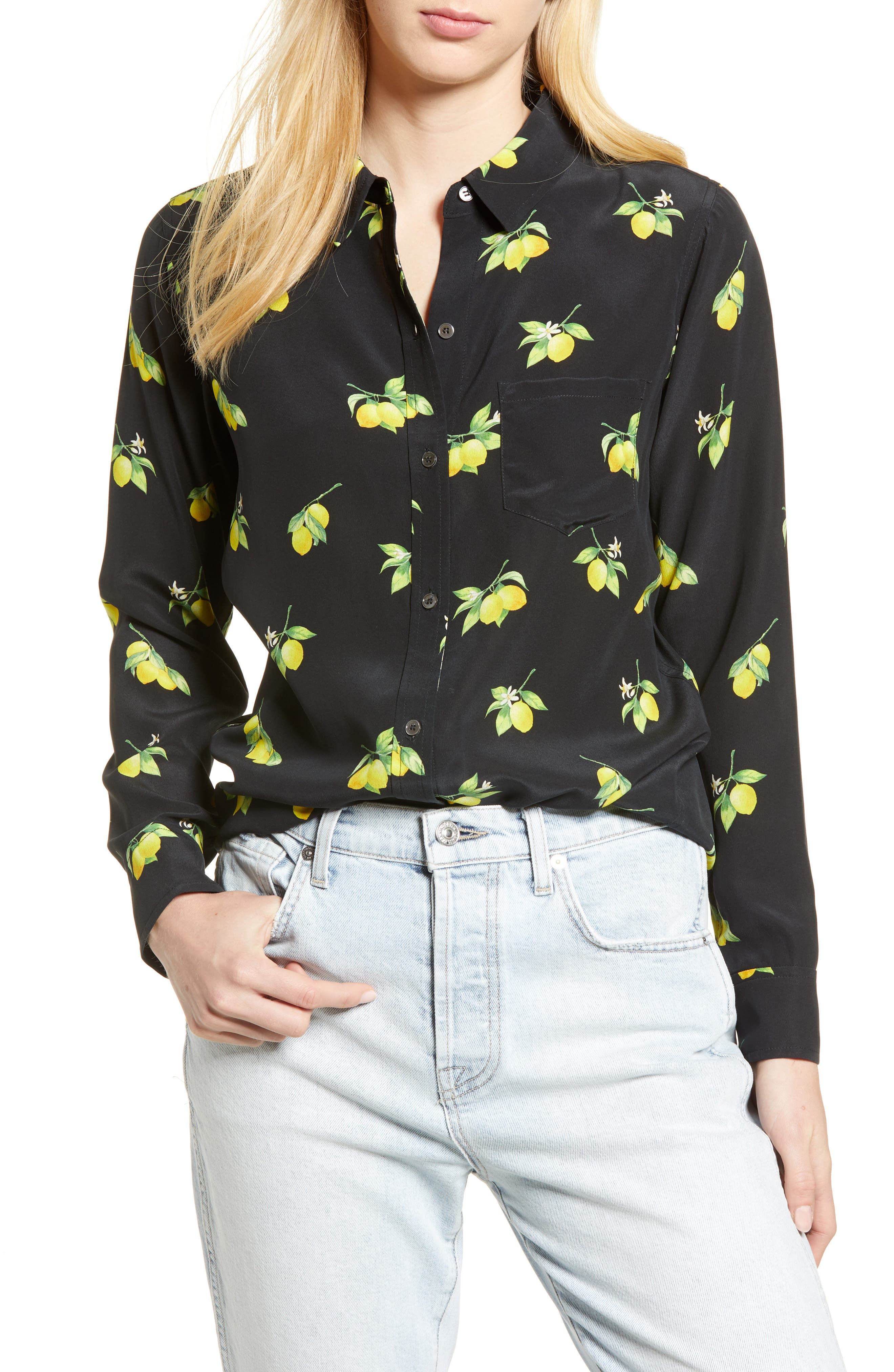 Kate Print Shirt,                         Main,                         color, LEMONS