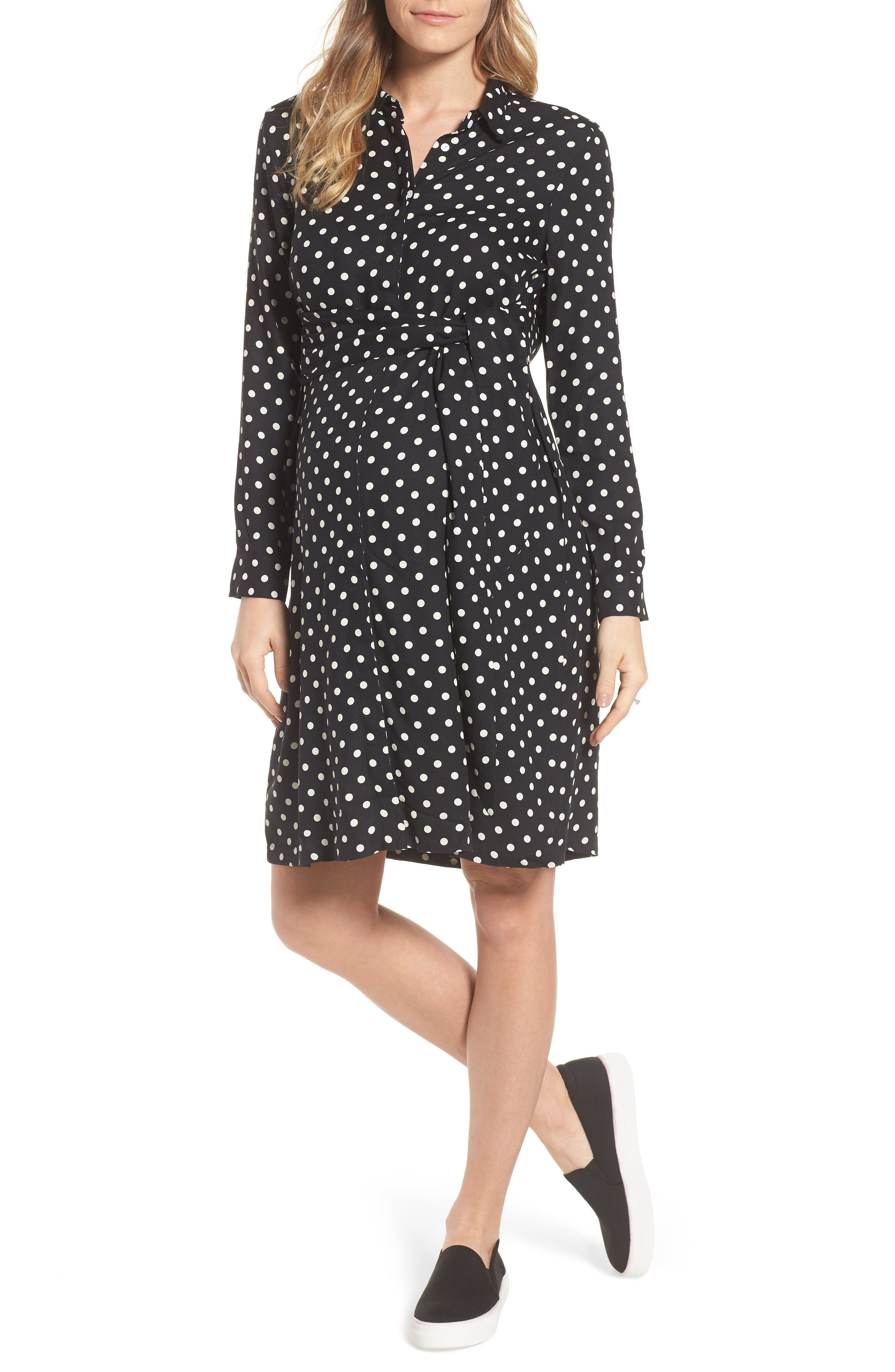ISABELLA OLIVER Elisha Maternity Shirtdress, Main, color, BLACK/WHITE POLKA CREPE