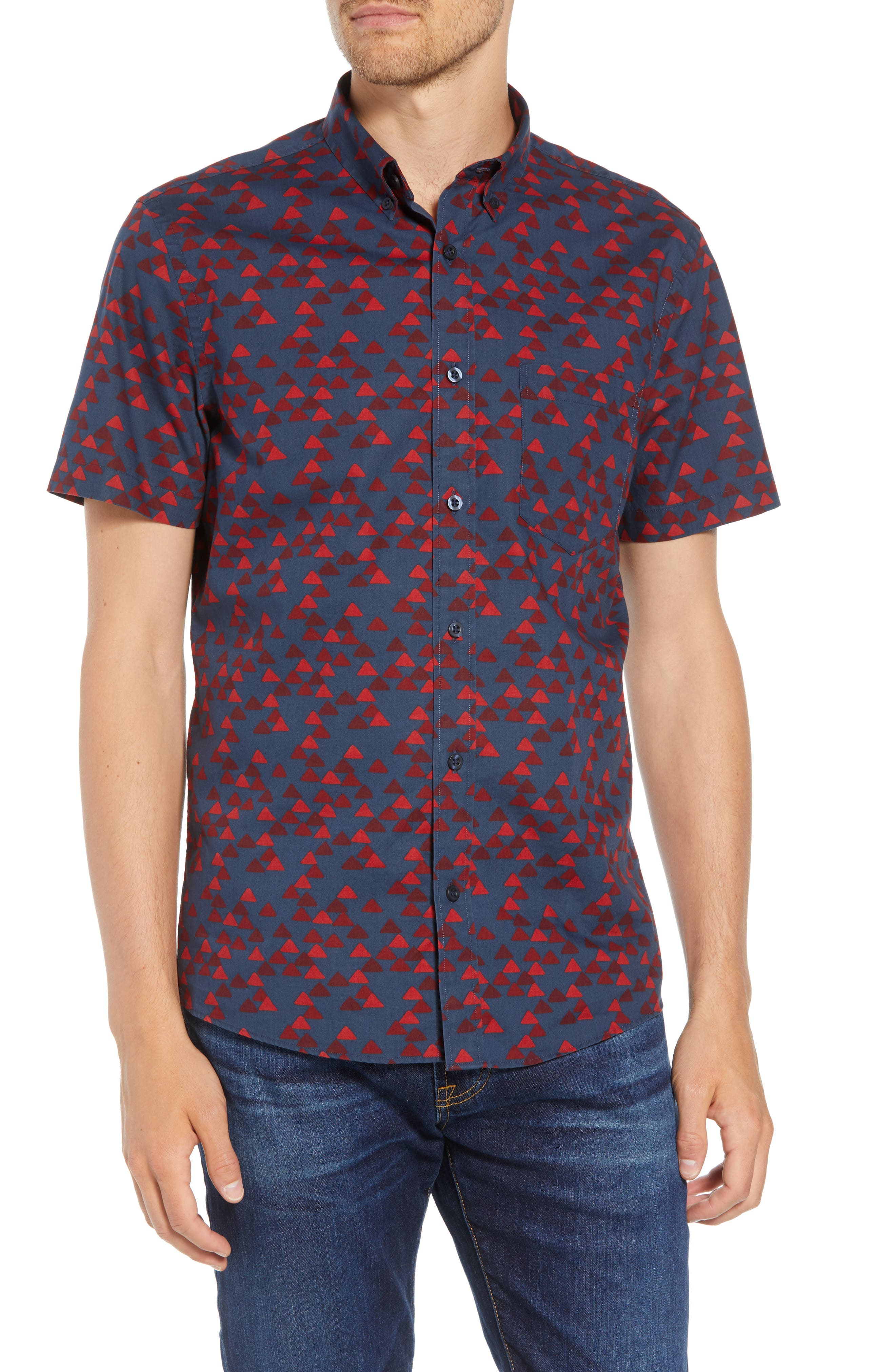 Ivy Trim Fit Print Sport Shirt,                             Main thumbnail 1, color,                             NAVY IRIS BURGUNDY TRIANGLES