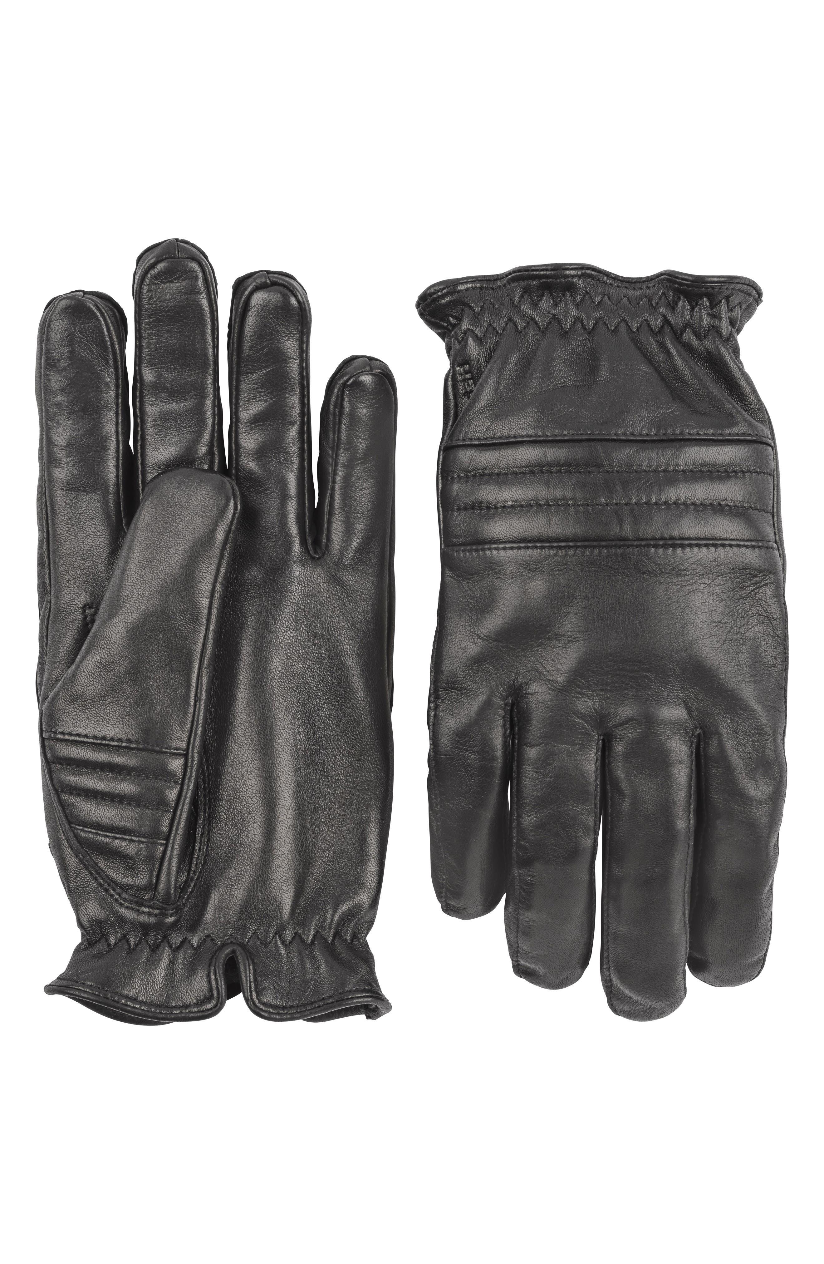 Hestra Oscar Leather Gloves, Black