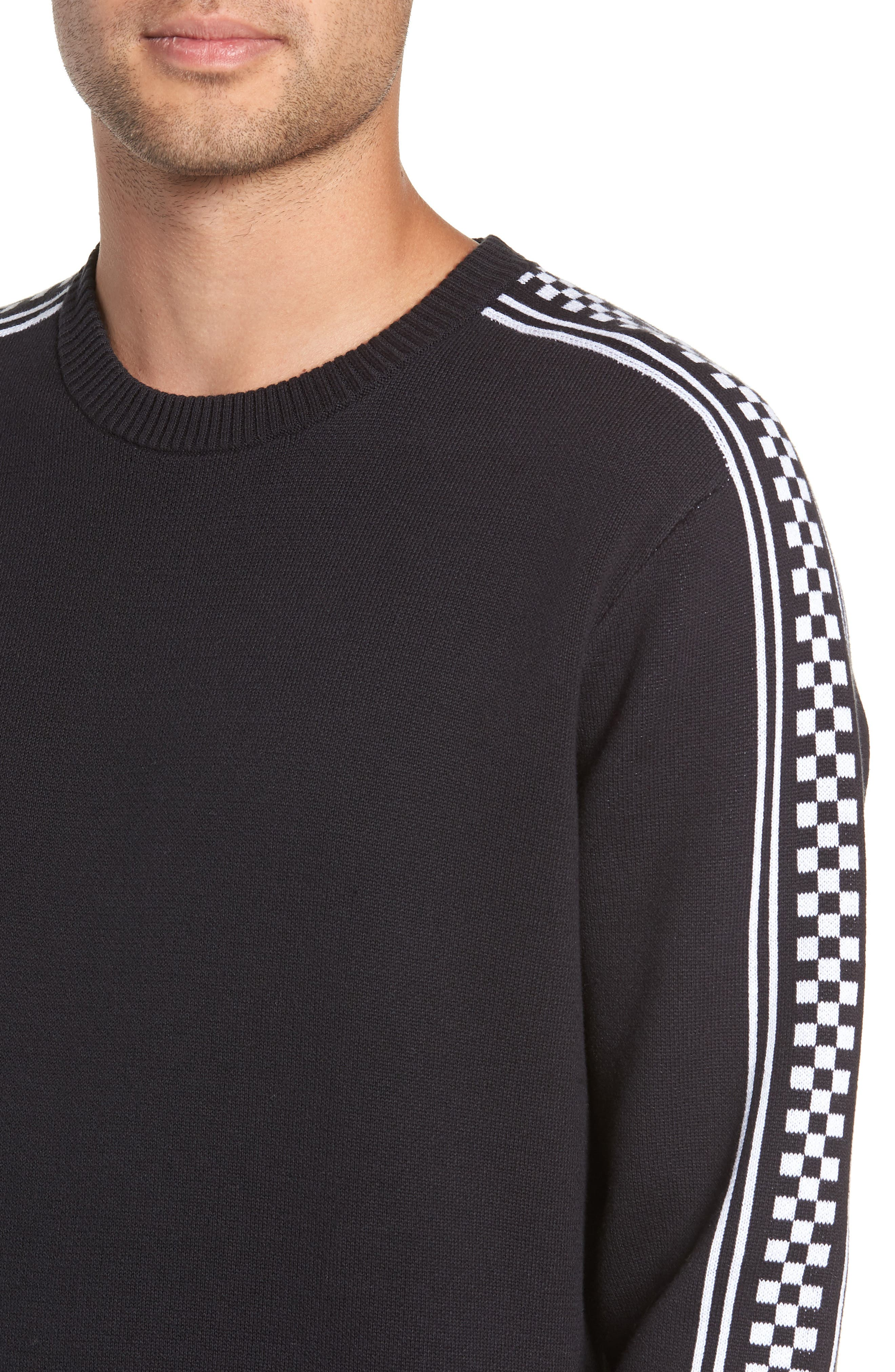 Check Yo Sleeve Crewneck Sweater,                             Alternate thumbnail 4, color,                             001