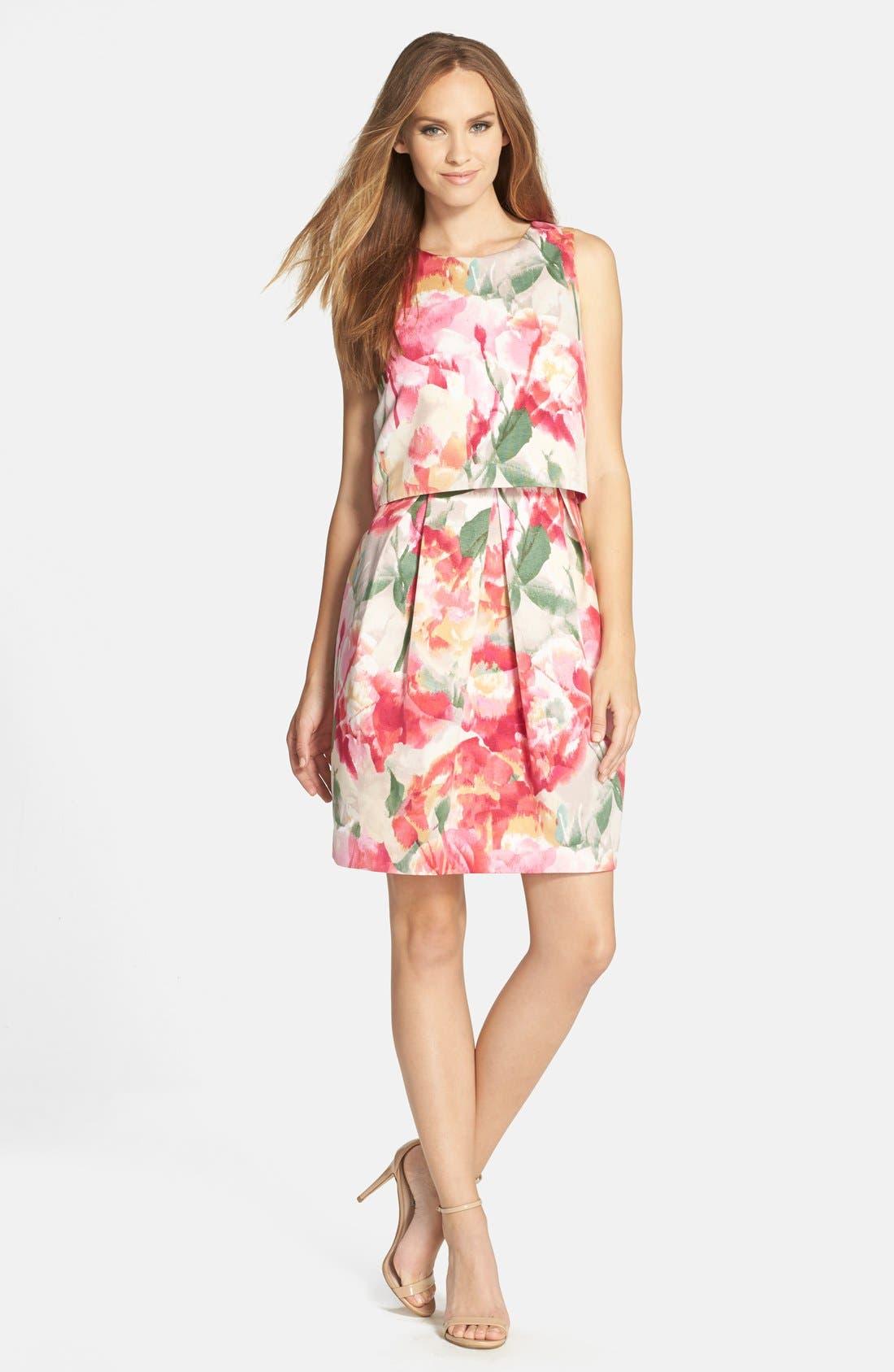 ELIZA J,                             Floral Popover Sleeveless Sheath Dress,                             Alternate thumbnail 4, color,                             698