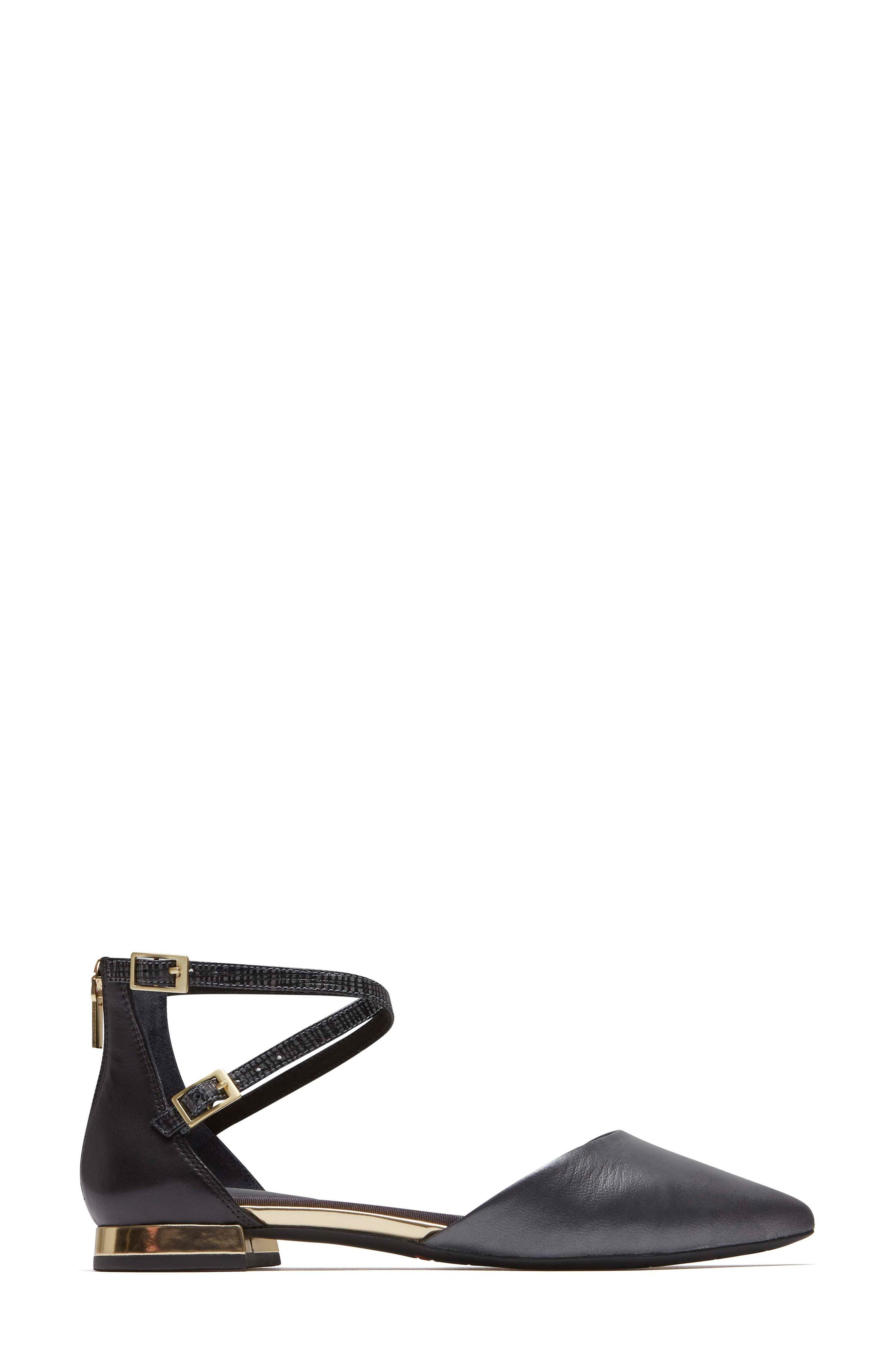 Total Motion<sup>®</sup> Zuly Luxe Ankle Strap Flat,                             Alternate thumbnail 3, color,                             BLACK LEATHER