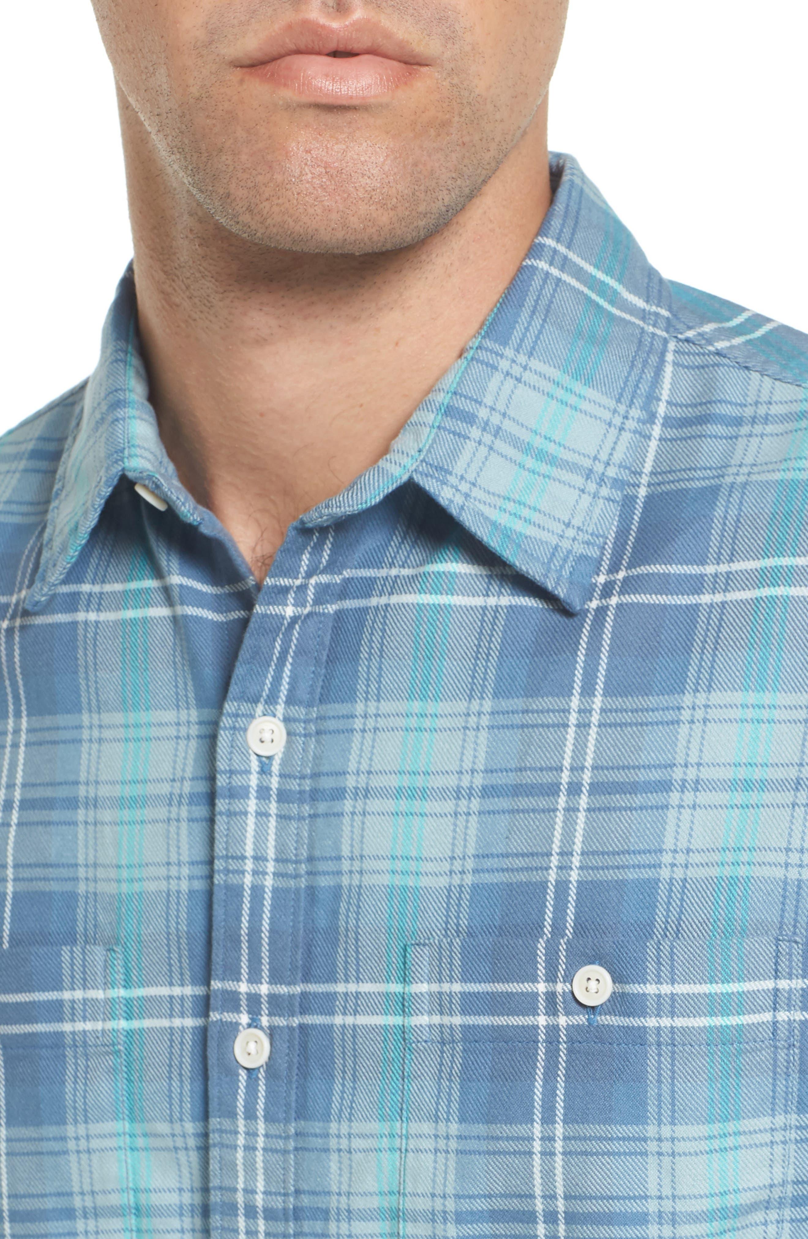 Slim Fit Plaid Flannel Sport Shirt,                             Alternate thumbnail 4, color,                             400