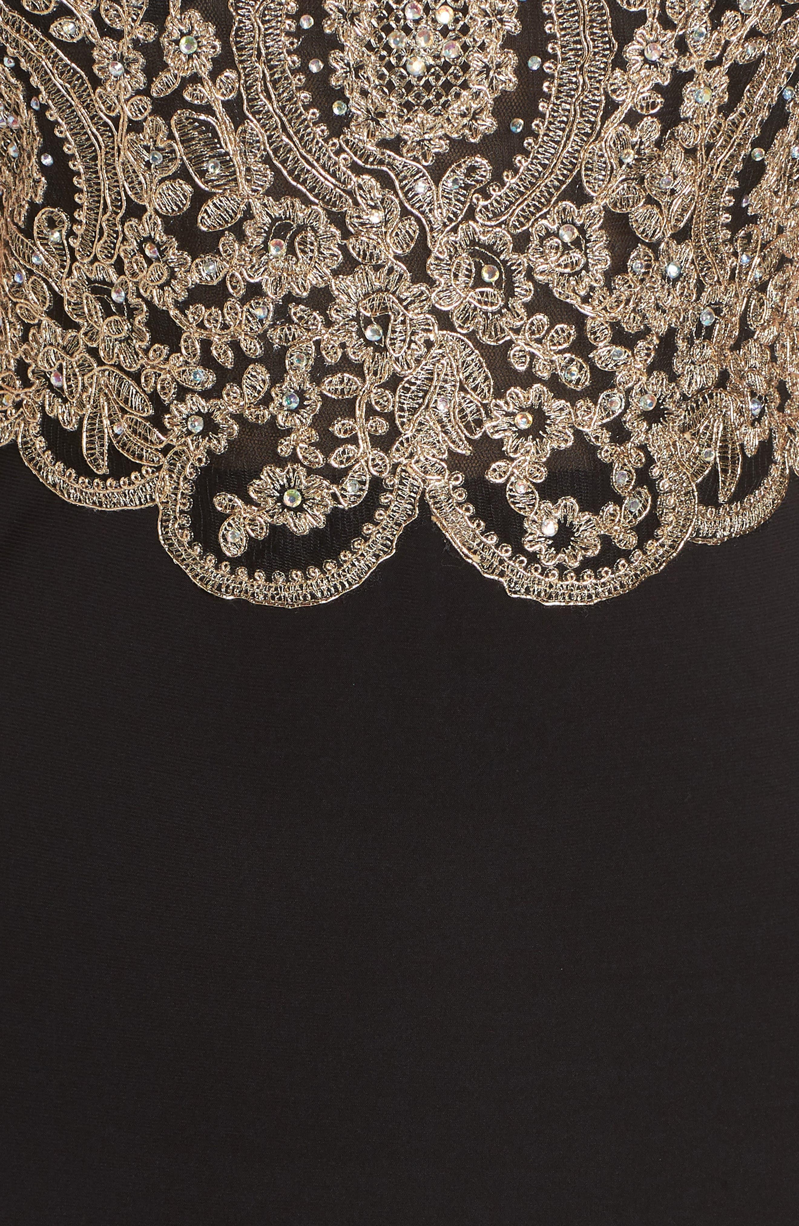 BLONDIE NITES,                             Embellished Appliqué Halter Gown,                             Alternate thumbnail 6, color,                             BLACK/ GOLD