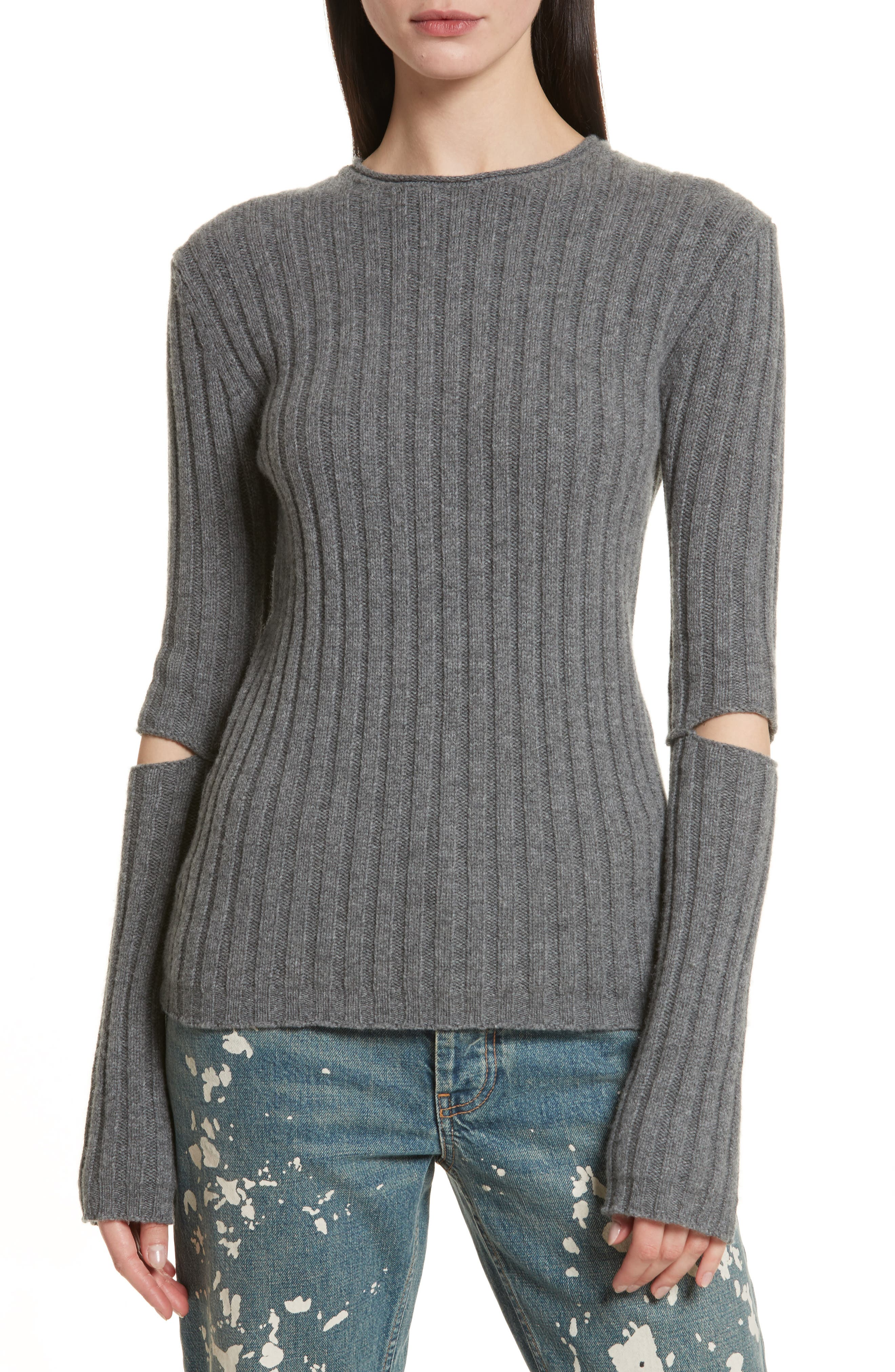 Re-Edition Elbow Cutout Lambswool Sweater,                             Main thumbnail 1, color,                             030