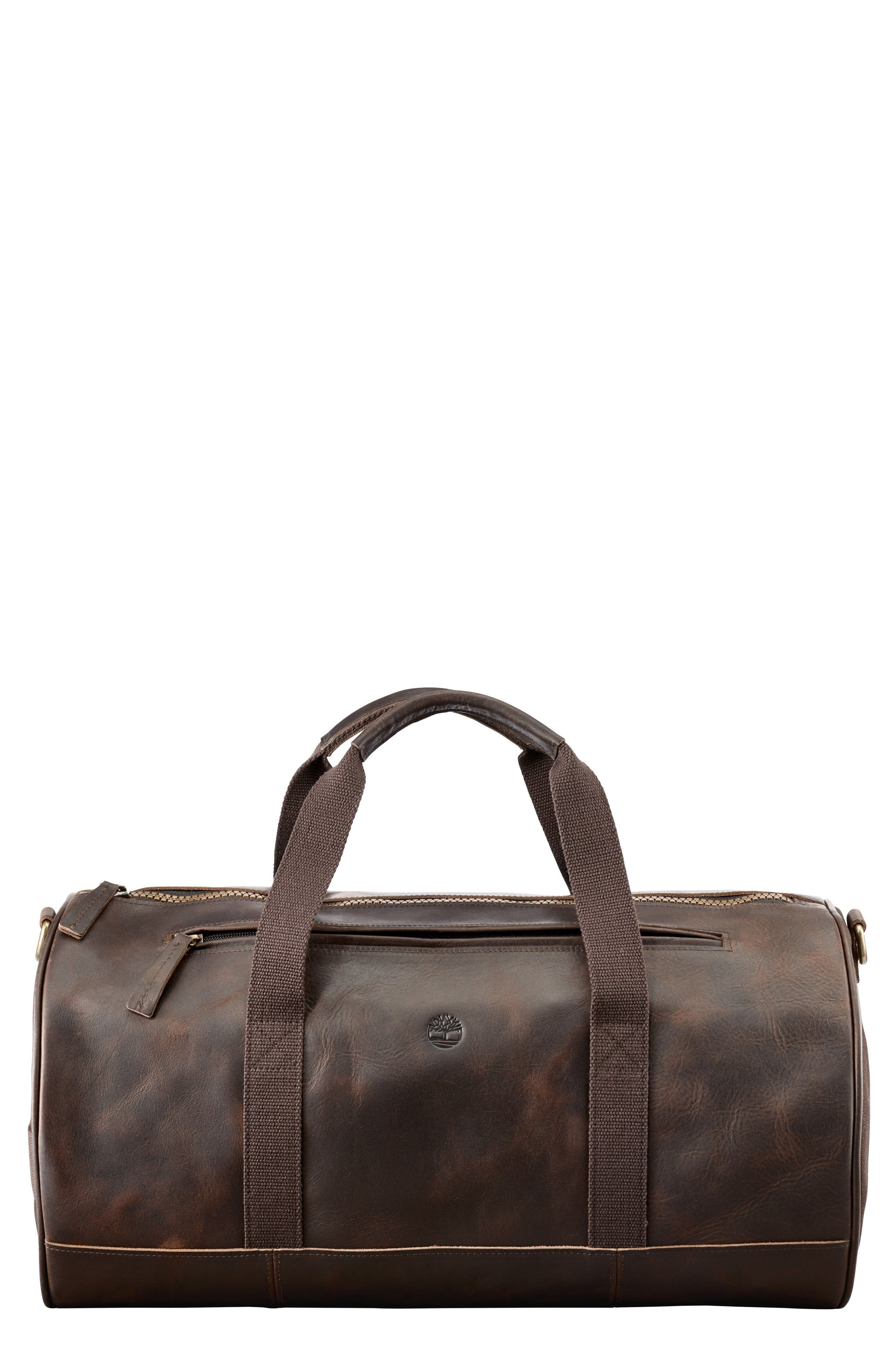 Tuckerman Leather Duffel,                             Main thumbnail 1, color,                             DARK BROWN