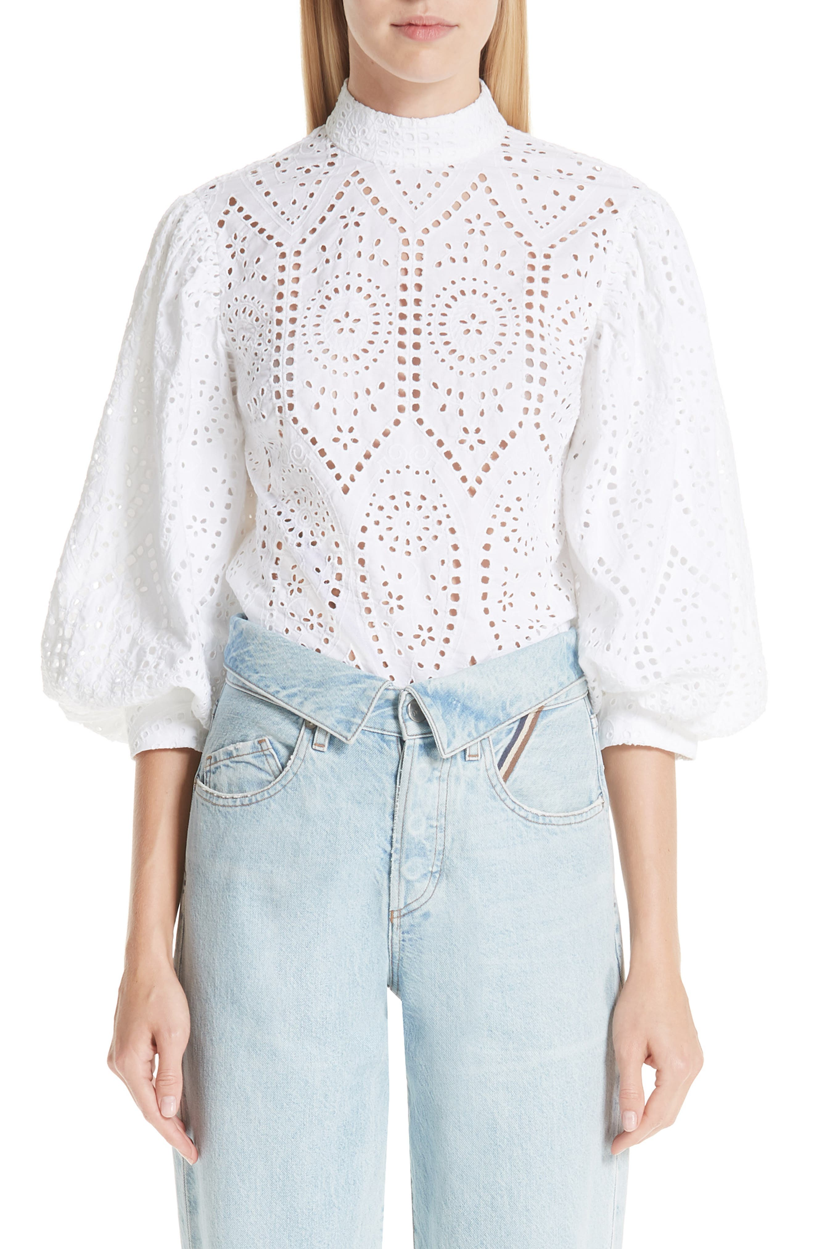 Broderie Anglaise Shirt,                         Main,                         color, BRIGHT WHITE 151